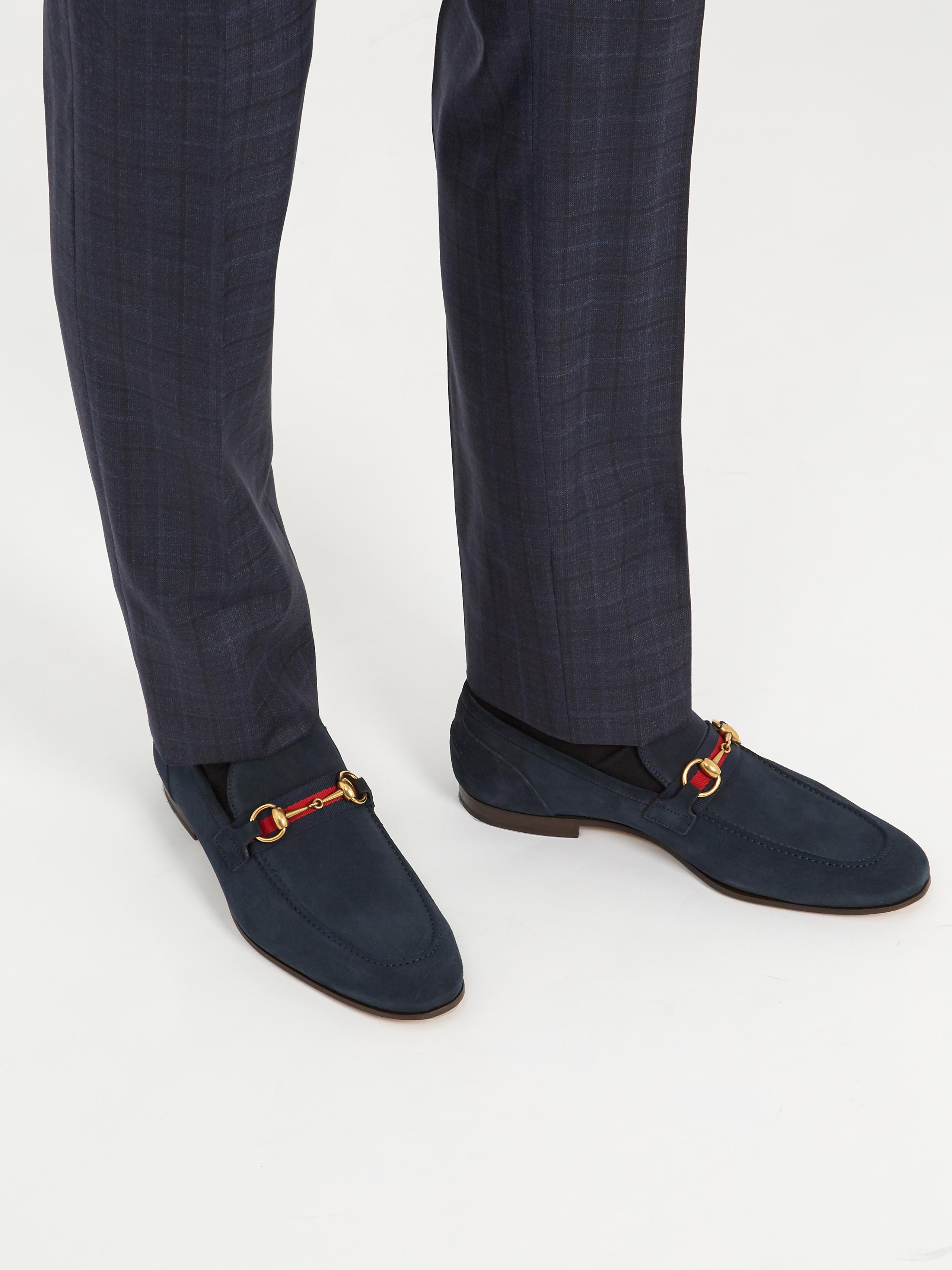 f5873de4a07 Gucci Elanor Suede Loafers in Blue for Men - Lyst