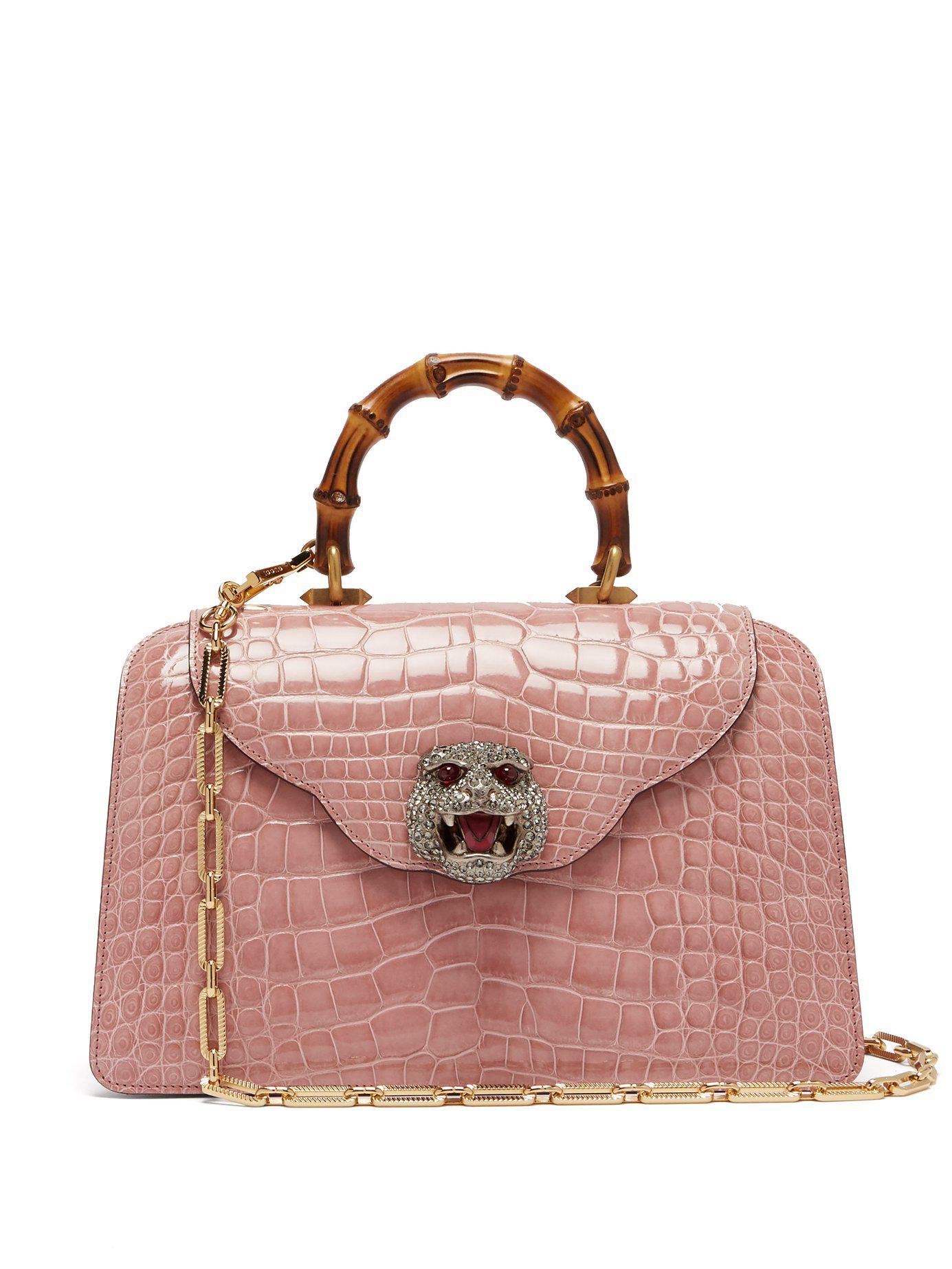 33955291d1f Lyst - Gucci Thiara Bamboo Handle Crocodile Leather Bag in Pink