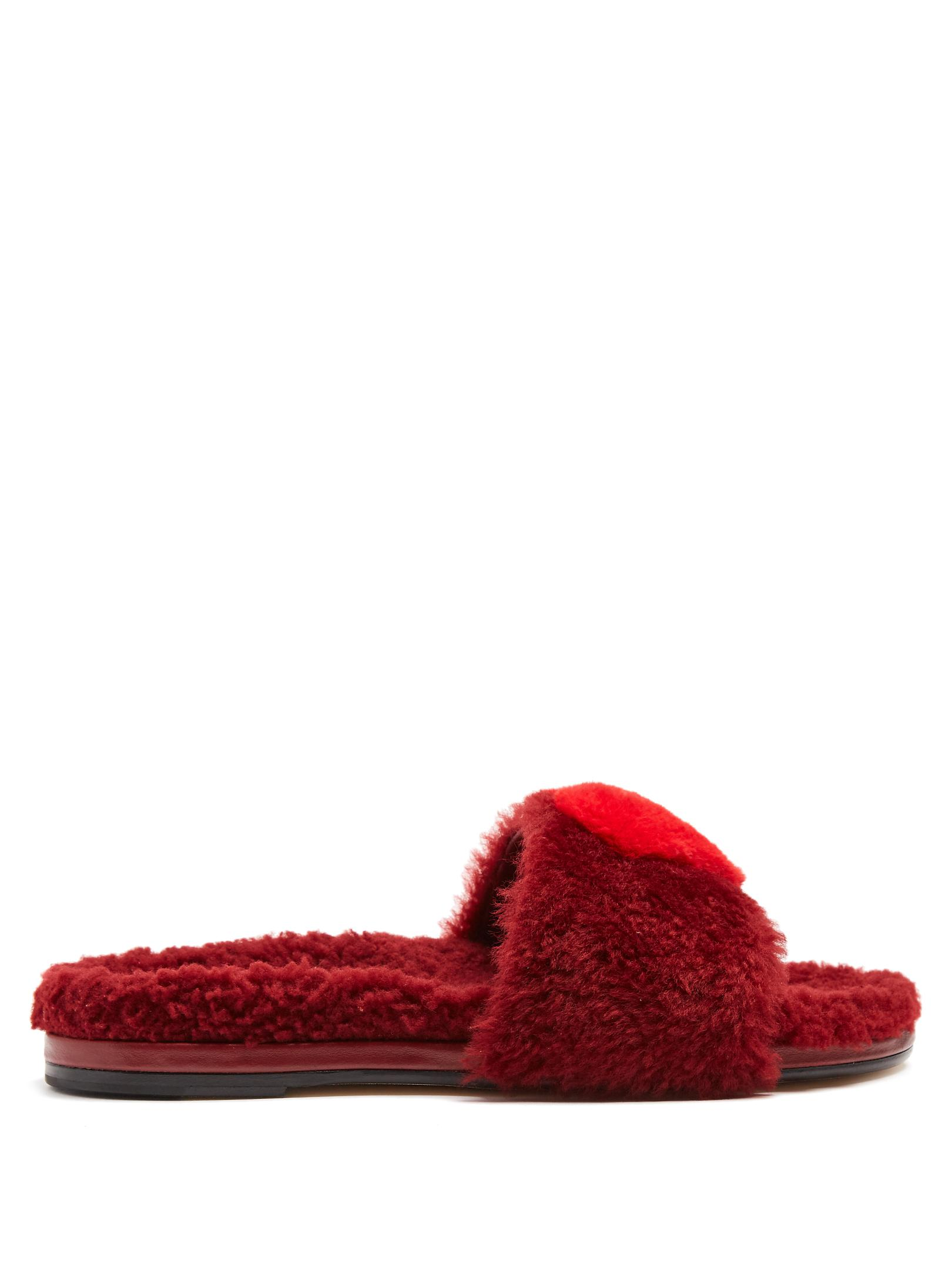 Anya Hindmarch Flat Shearling Heart Slides Cheap Explore Very Cheap Price Pay With Visa For Sale Outlet Low Shipping Free Shipping Best 6mnlk0eIDe