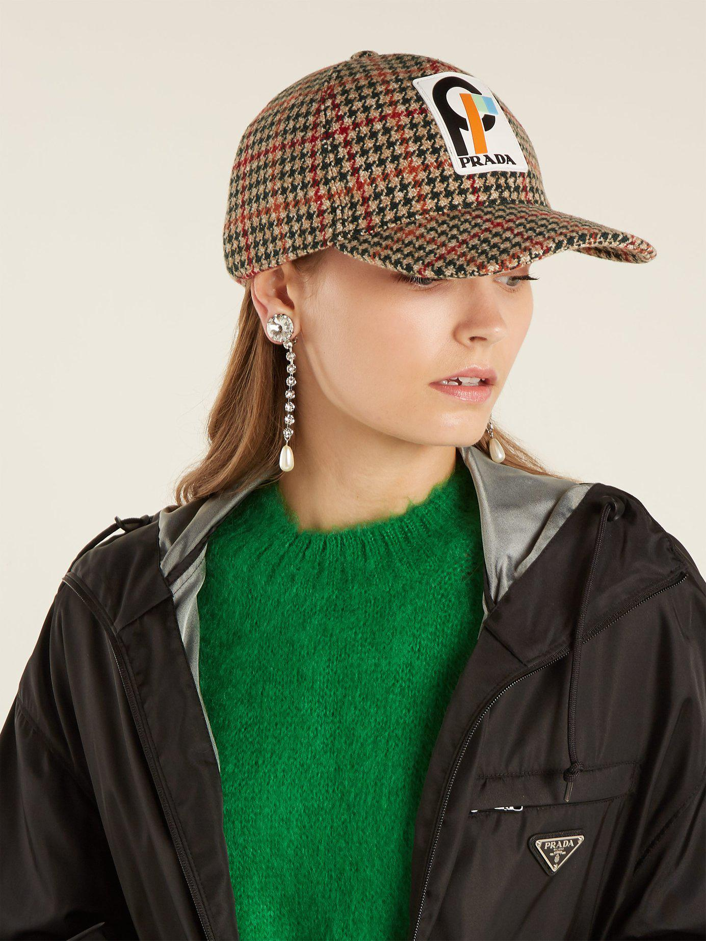 1d51db502fc Prada - Green Houndstooth Wool Tweed Cap - Lyst. View fullscreen
