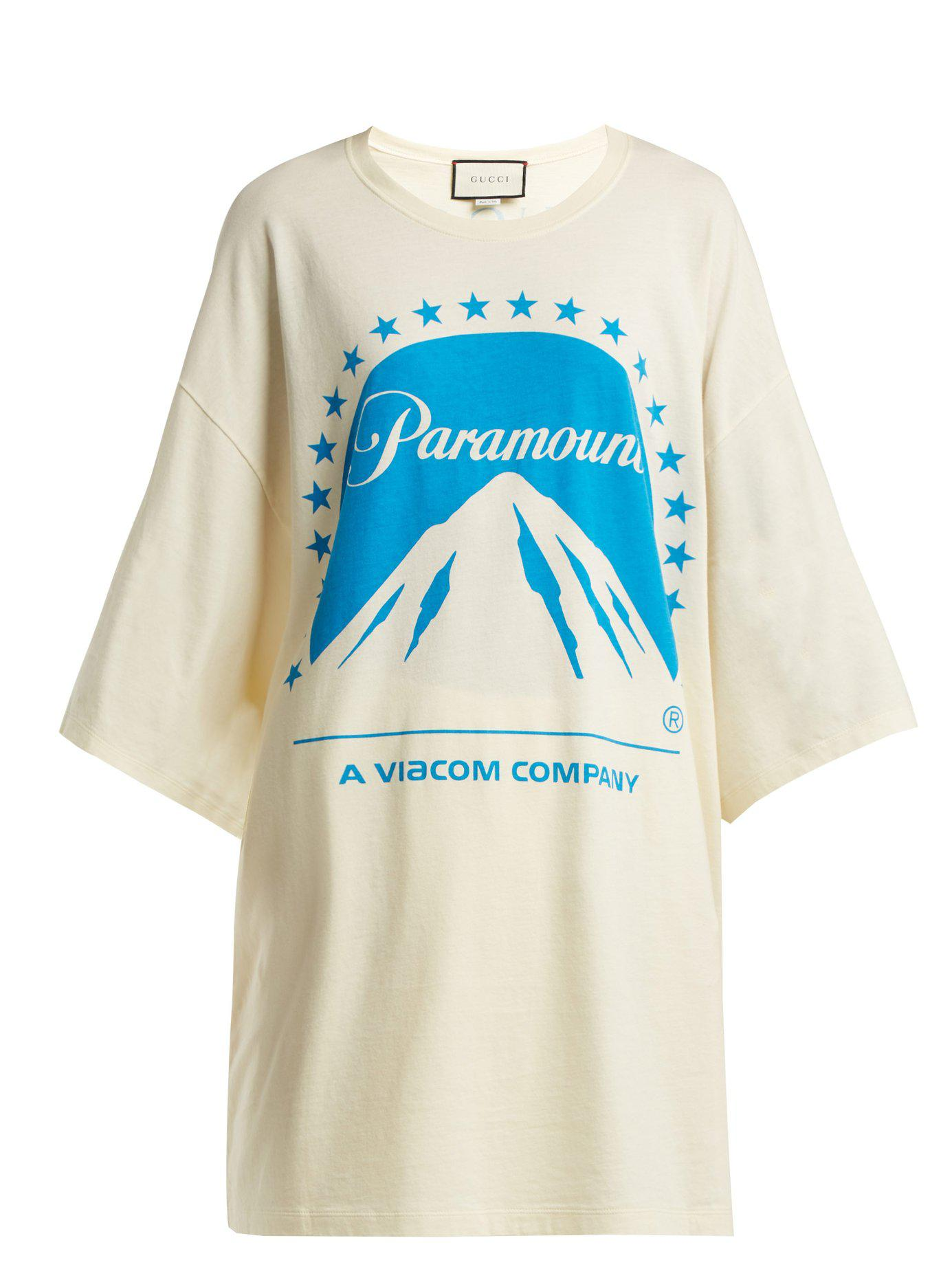 63d3f8f92 Gucci Paramount Oversized Cotton T Shirt in Blue - Lyst
