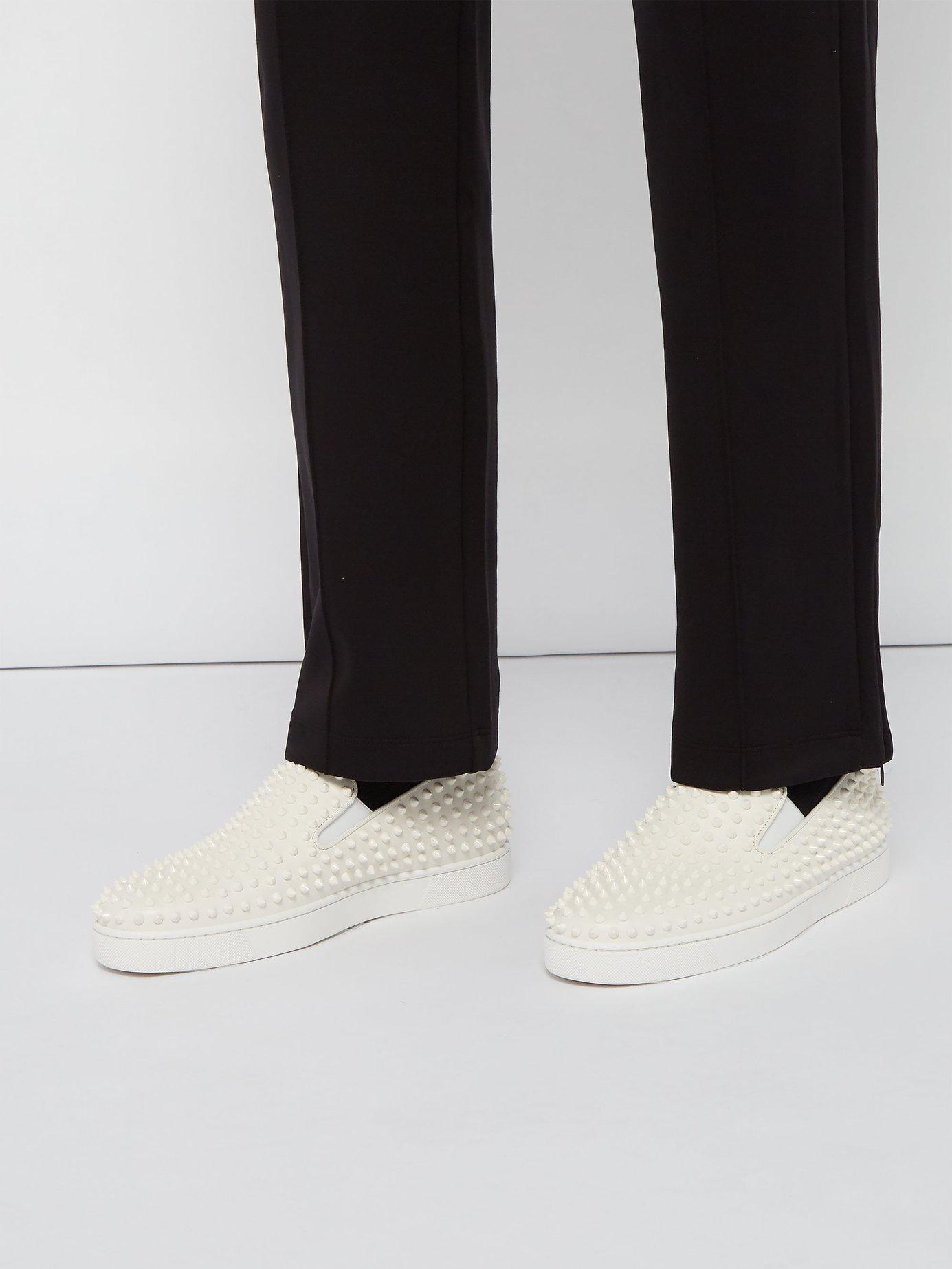 96bf7d269aaa Lyst - Christian Louboutin Roller Boat Spike Embellished Slip On Trainers  in White for Men