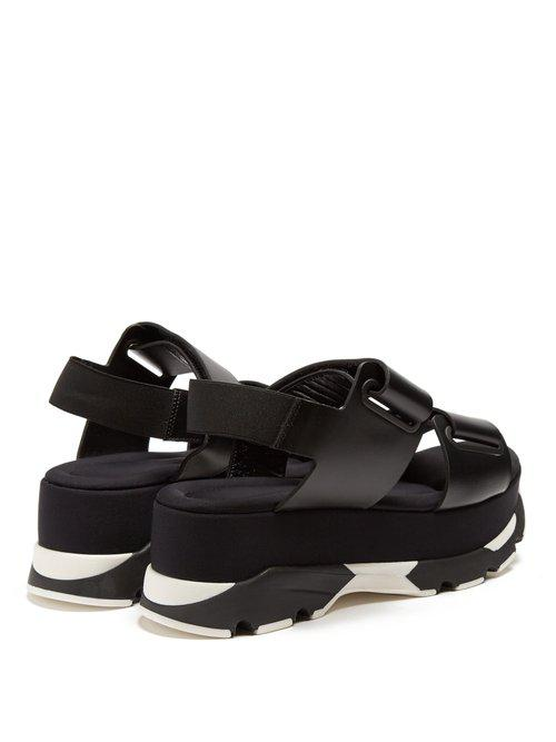 ab924e42832a Lyst - Marni Velcro-strap Leather Slingback Platform Sandals in Black