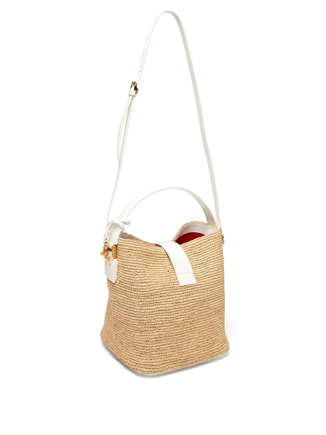 e0e4ccaabd Mark Cross Murphy Raffia Bucket Bag in Blue - Lyst