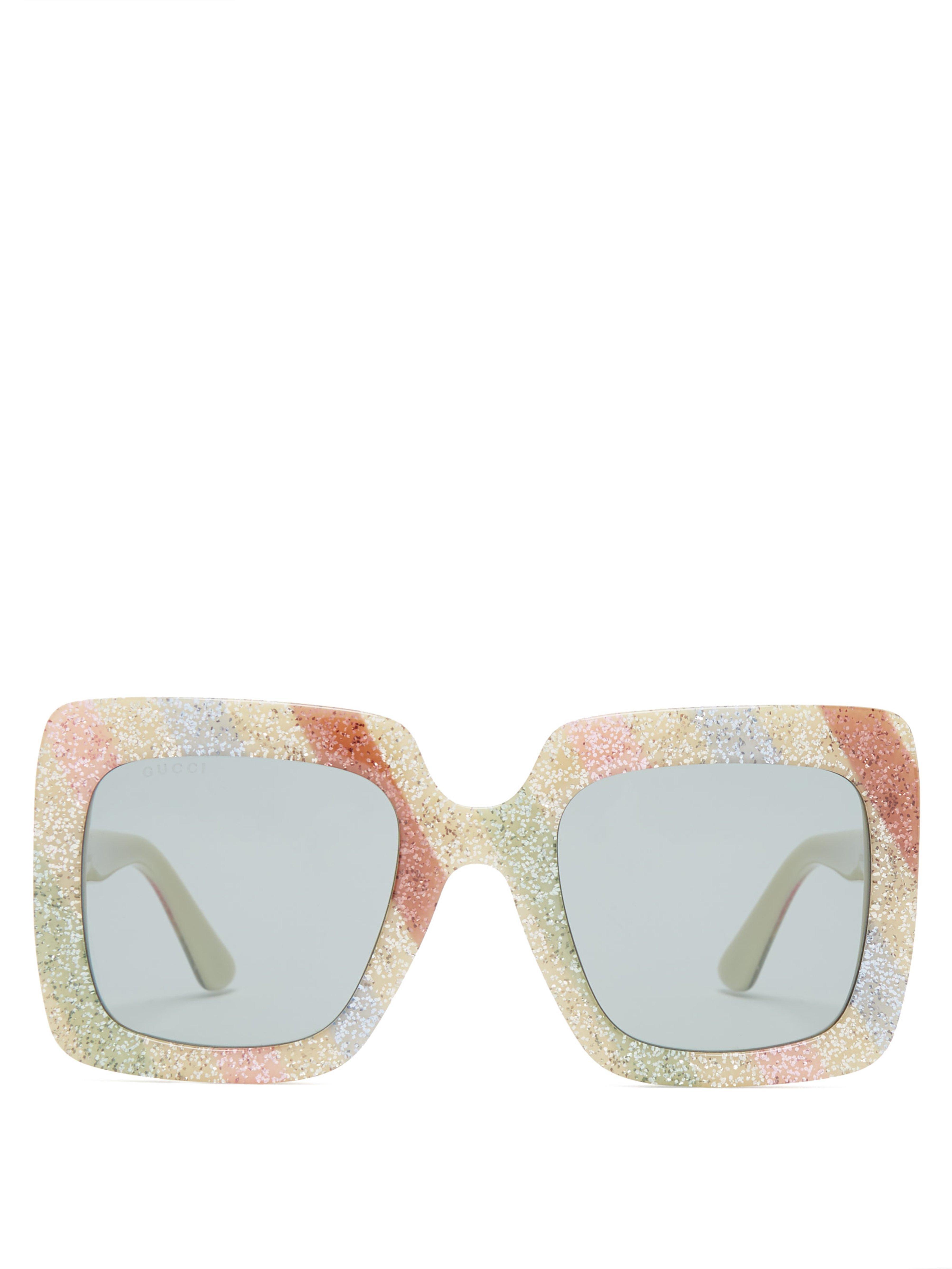 1c251e02f Gucci. Women's Glitter Stripe Square Acetate Sunglasses