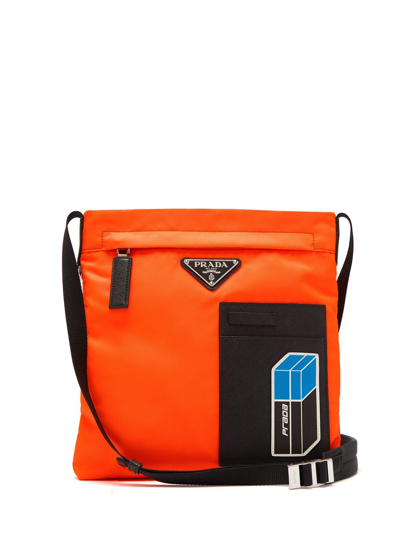 6d6f6e912e Prada Logo-plaque Nylon Cross-body Bag in Orange for Men - Lyst