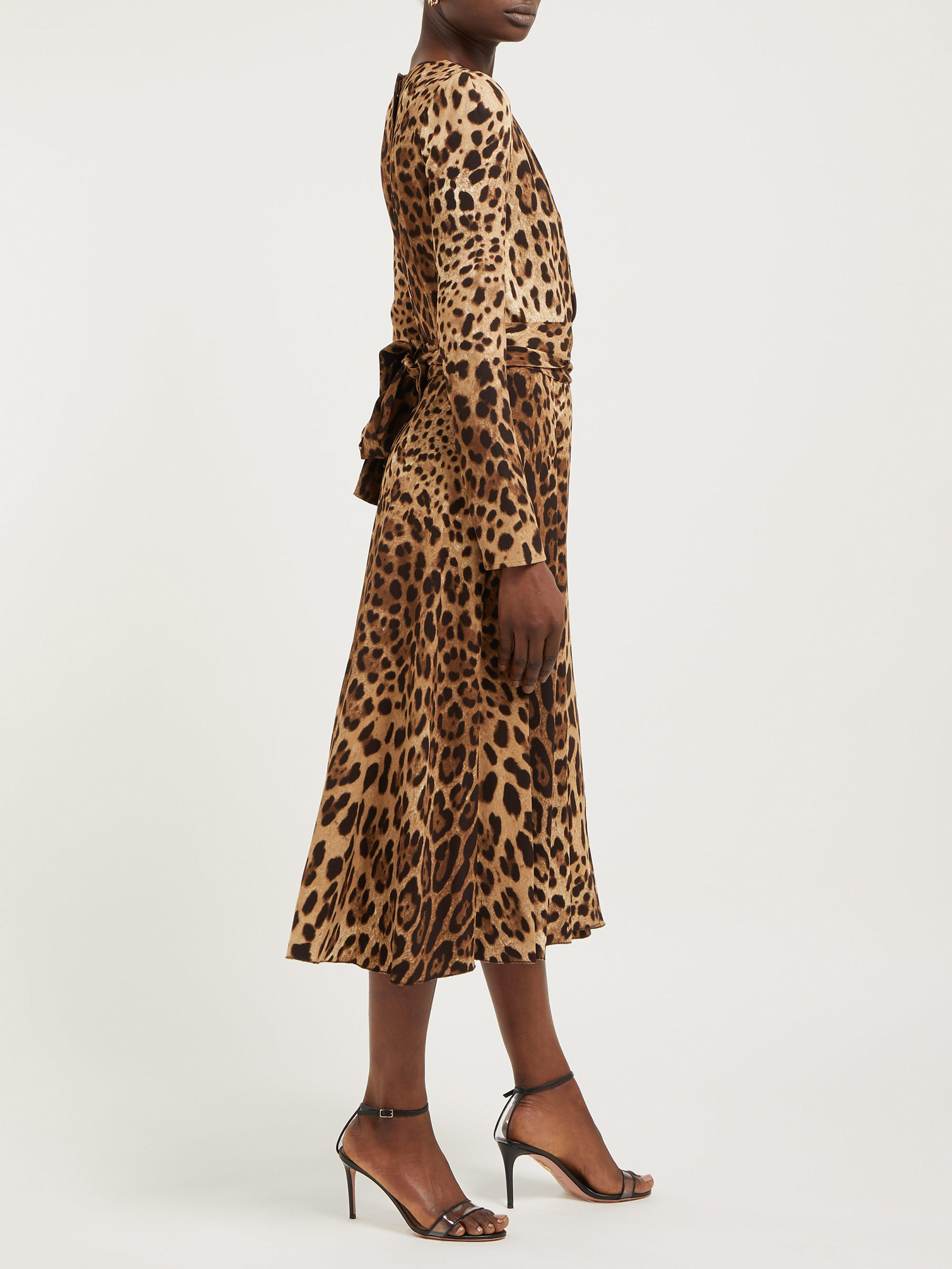 Dolce   Gabbana Leopard Print Belted Dress in Brown - Lyst b0069084e