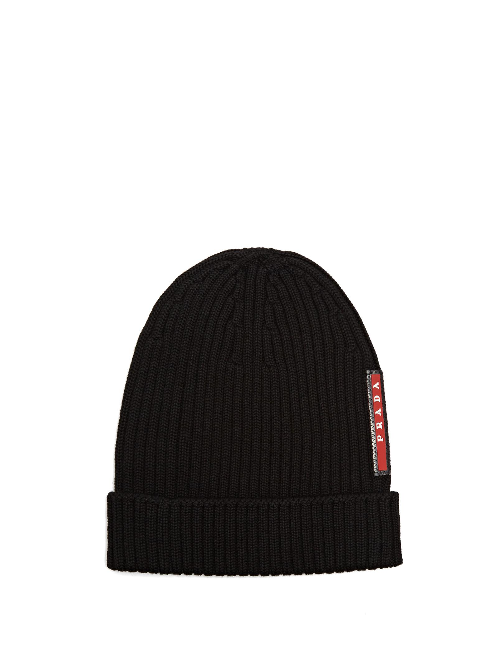 ad3457e4ad5f1 Prada Ribbed-knit Beanie Hat in Black for Men - Lyst