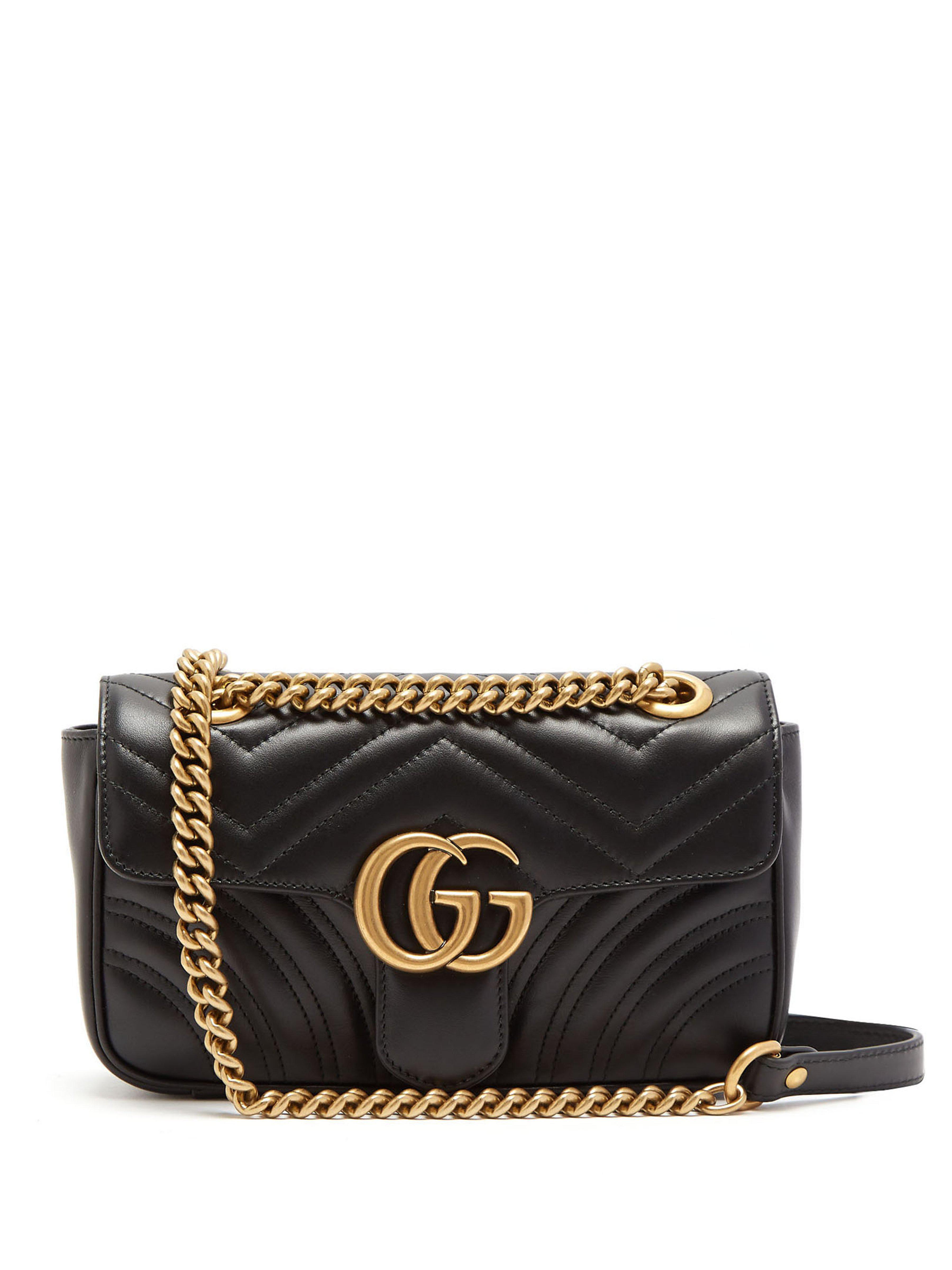 Lyst - Sac bandoulière en cuir matelassé GG Marmont mini Gucci en ... 3ba65002970