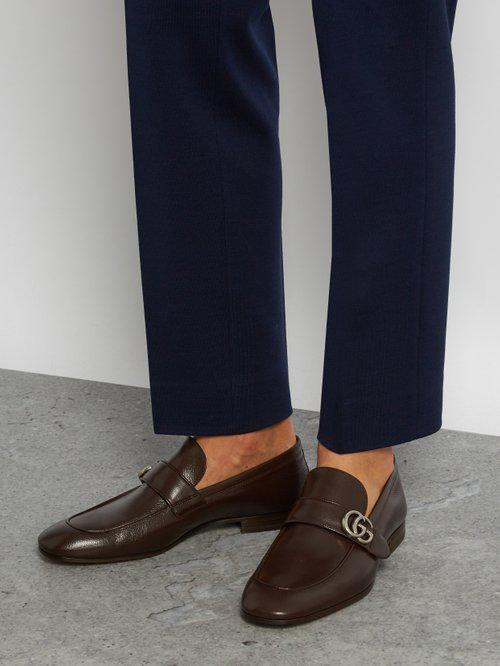 a10f751686f Lyst - Gucci Donnie Gg Leather Loafers in Brown for Men