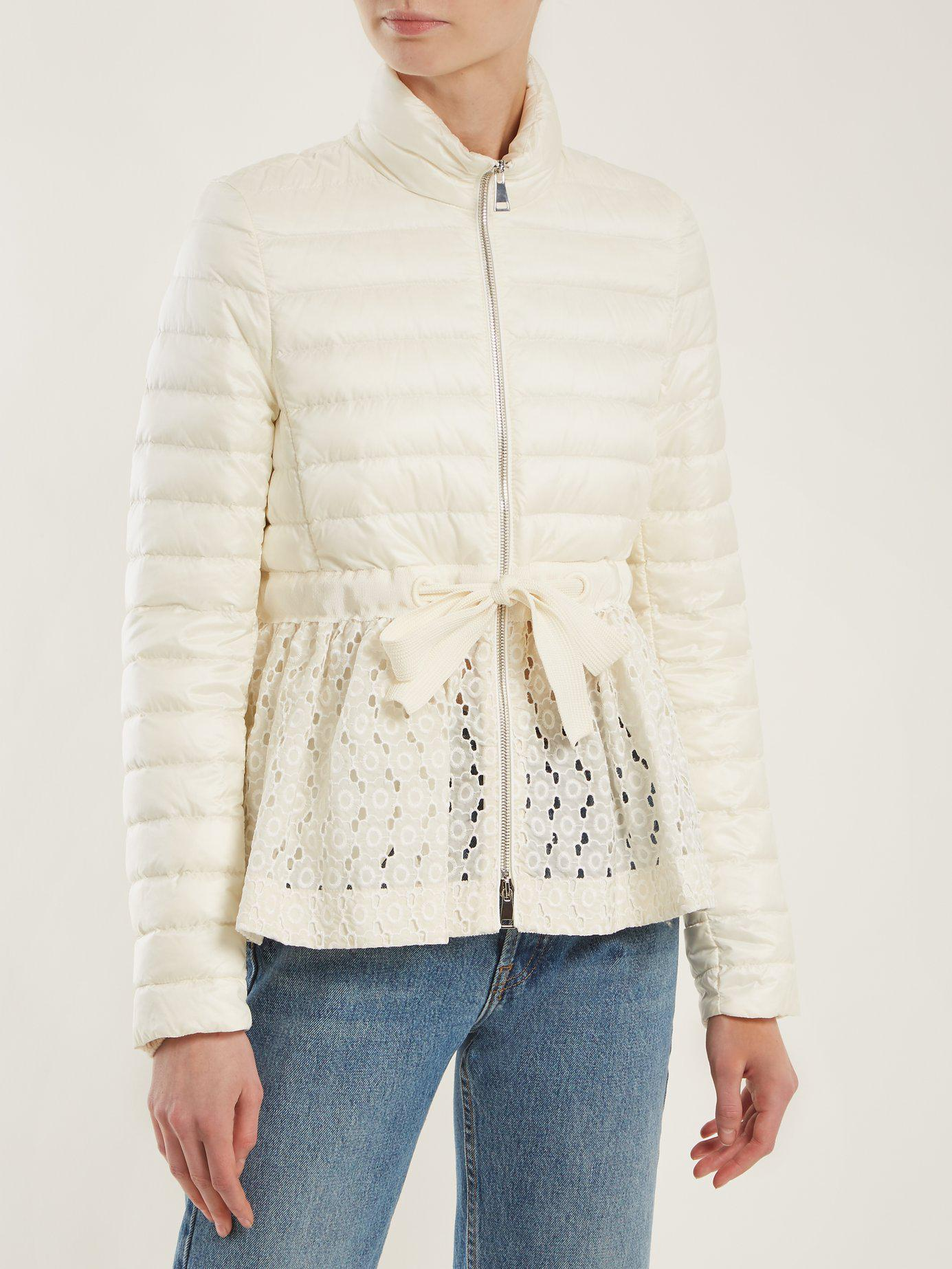 1ddfeceeb Lyst - Moncler Serpentine Quilted Down Embroidered Jacket in White