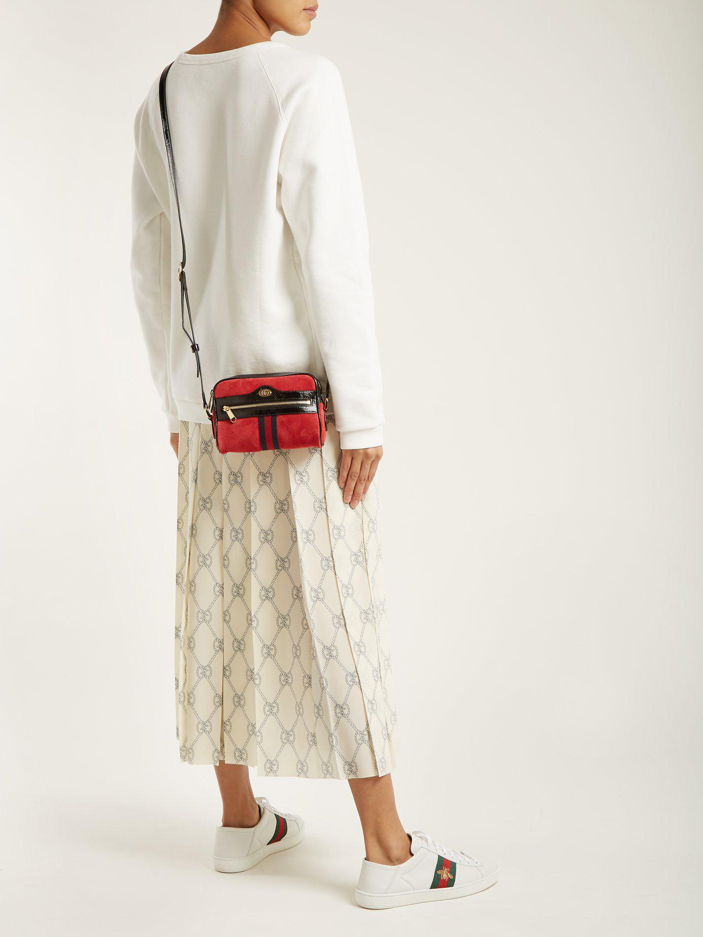 92c3cad9ff7 Gucci - Red Ophidia Mini Suede Cross Body Bag - Lyst. View fullscreen
