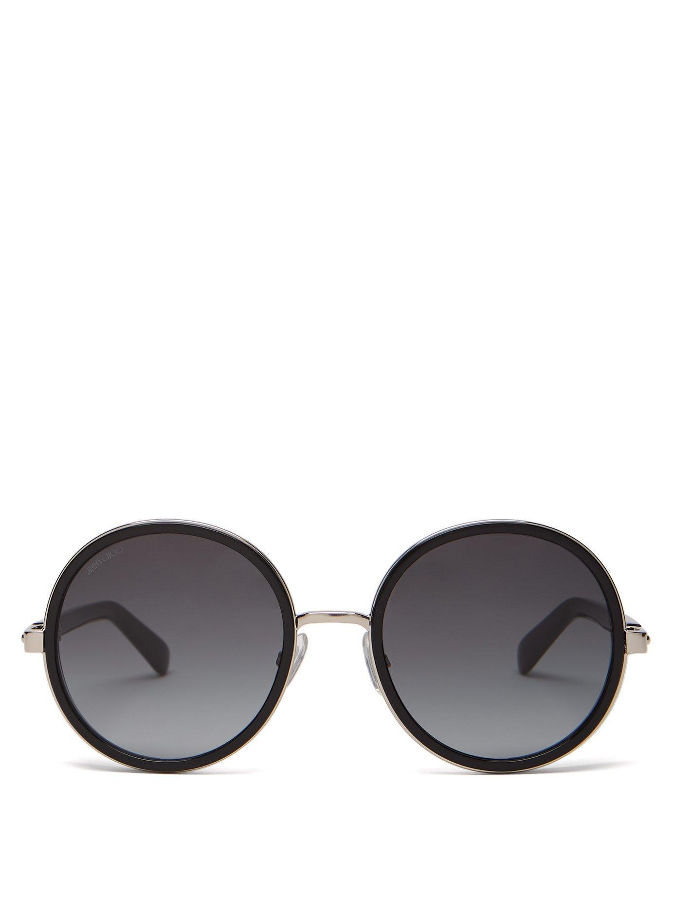 fc337b9e9c32 Lyst - Jimmy Choo Andie Glitter Round Frame Sunglasses in Black