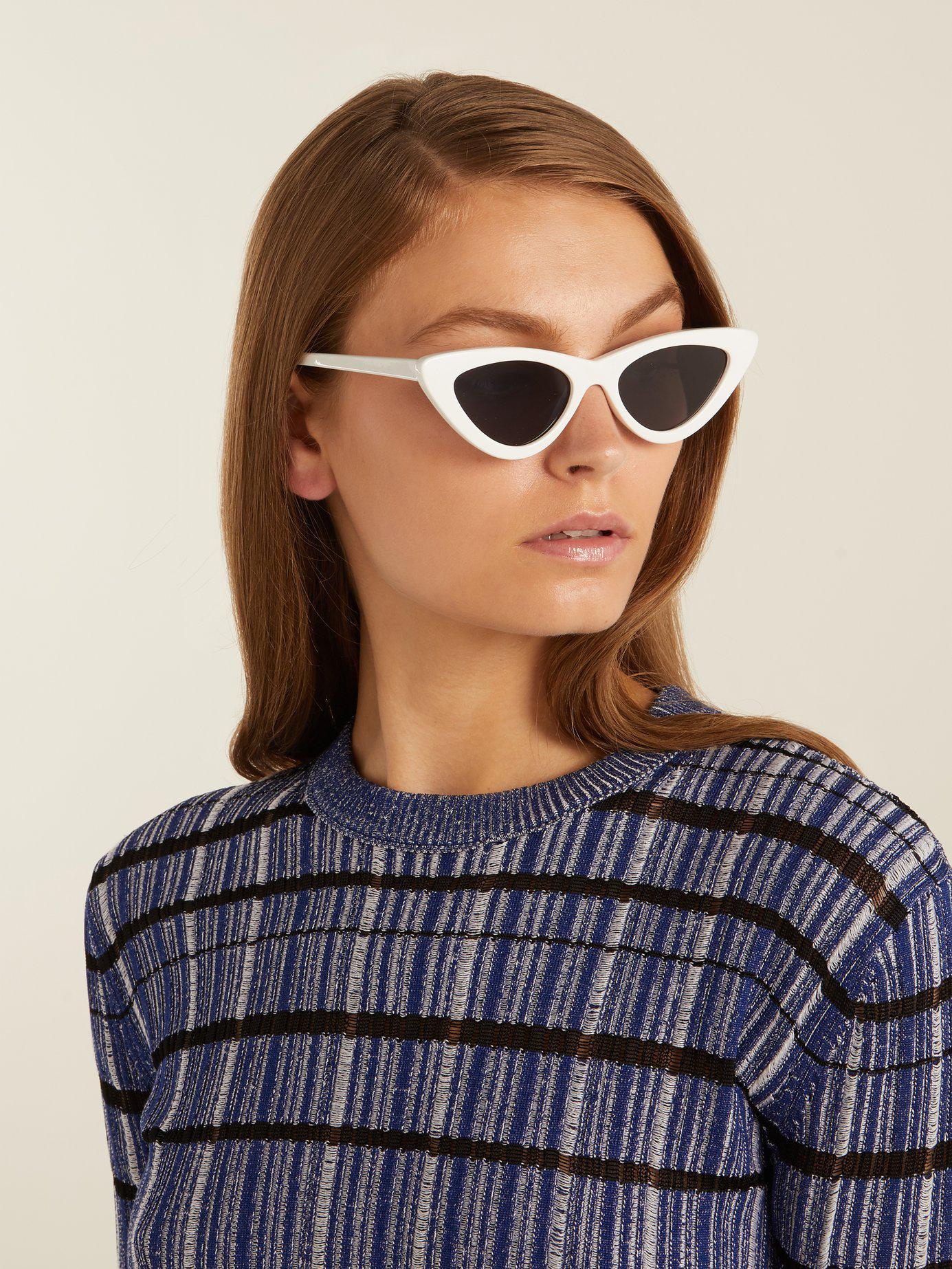 3e357ca6ba3e Le Specs X Adam Selman The Last Lolita Cat Eye Sunglasses in White - Lyst