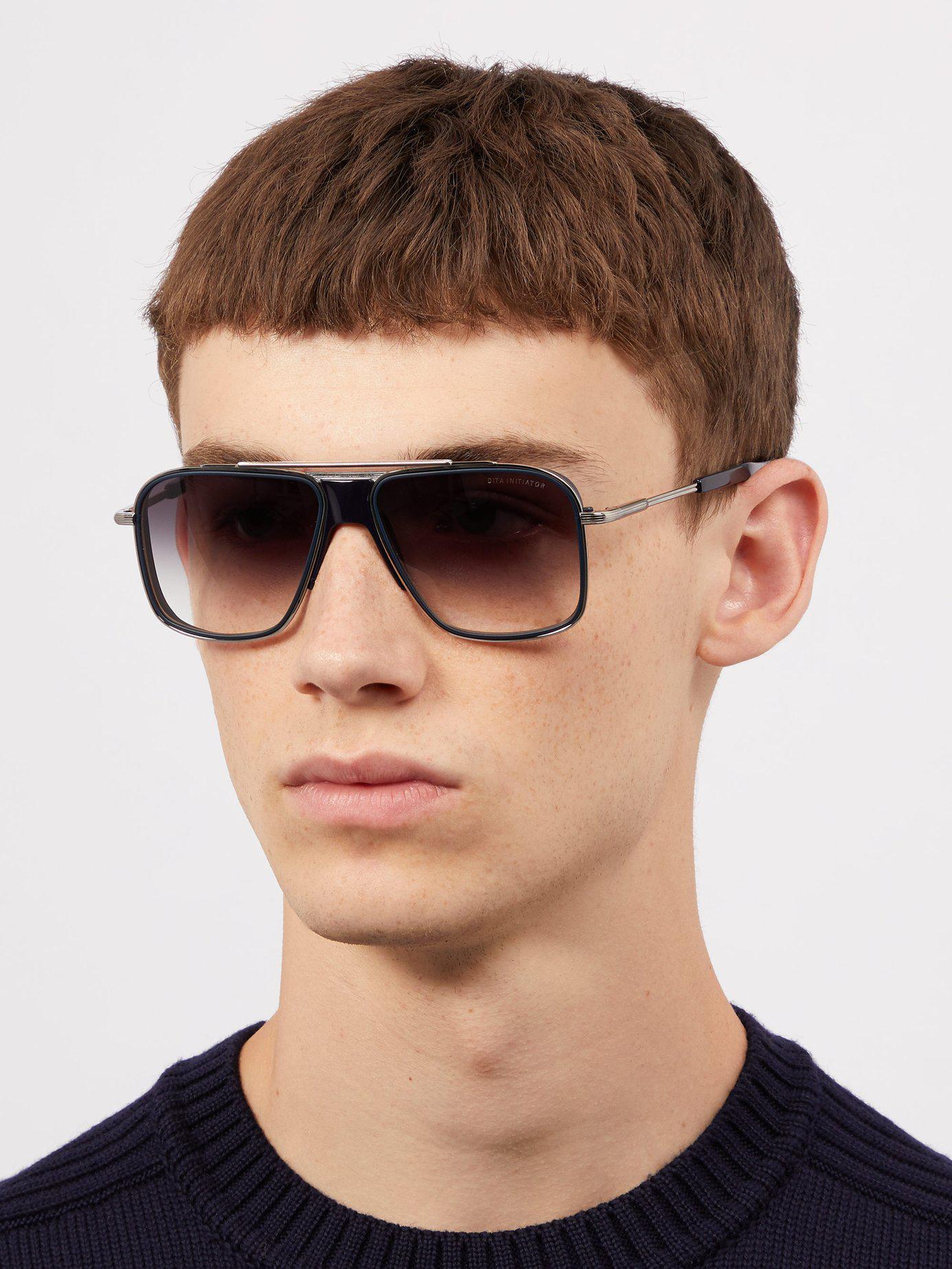 fb41750198c Lyst - Dita Eyewear Initiator Aviator D Frame Titanium Sunglasses in Black  for Men