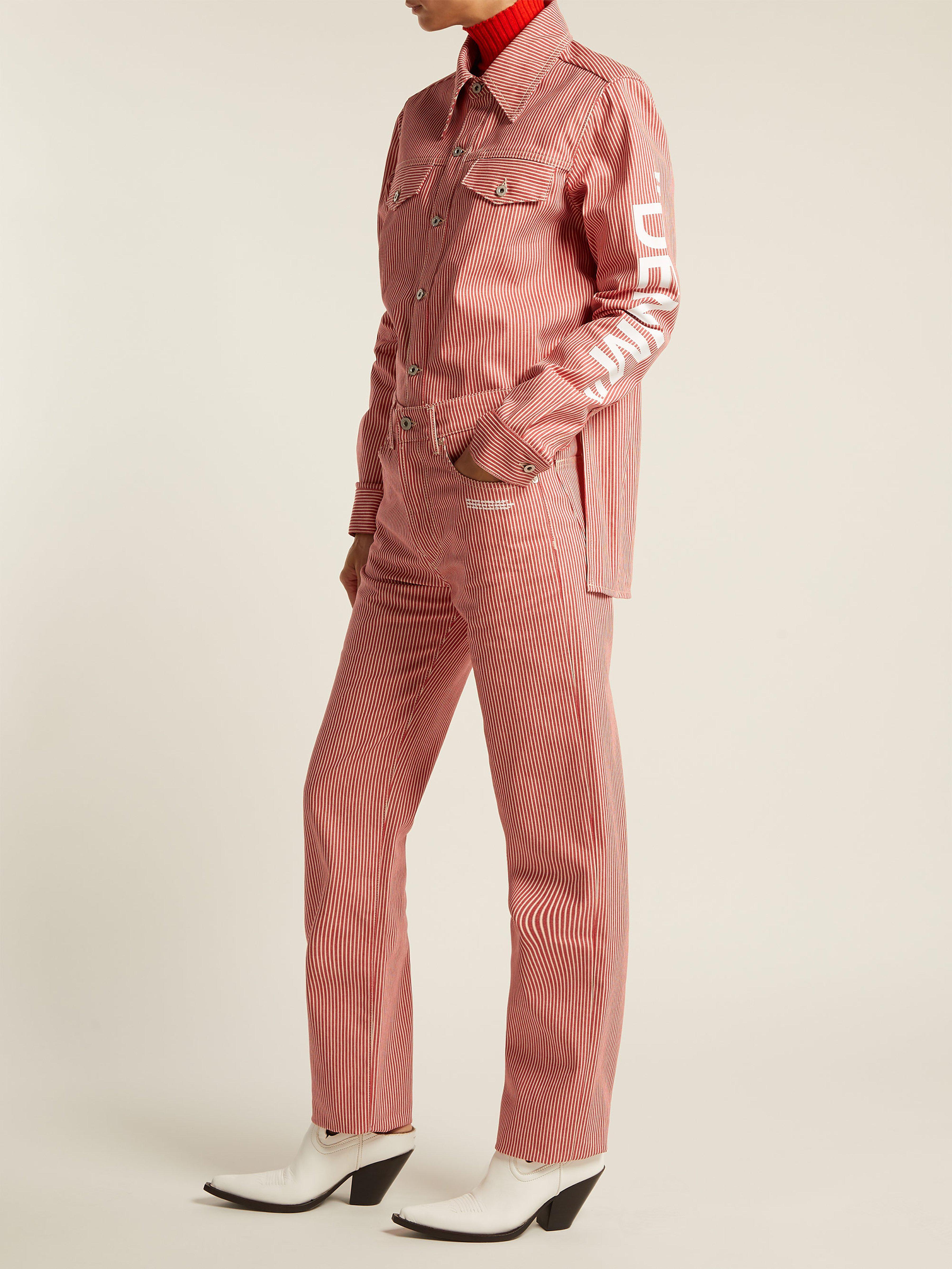 a7010d2358bb Off-White c o Virgil Abloh - Red Striped High Rise Straight Leg Jeans. View  fullscreen