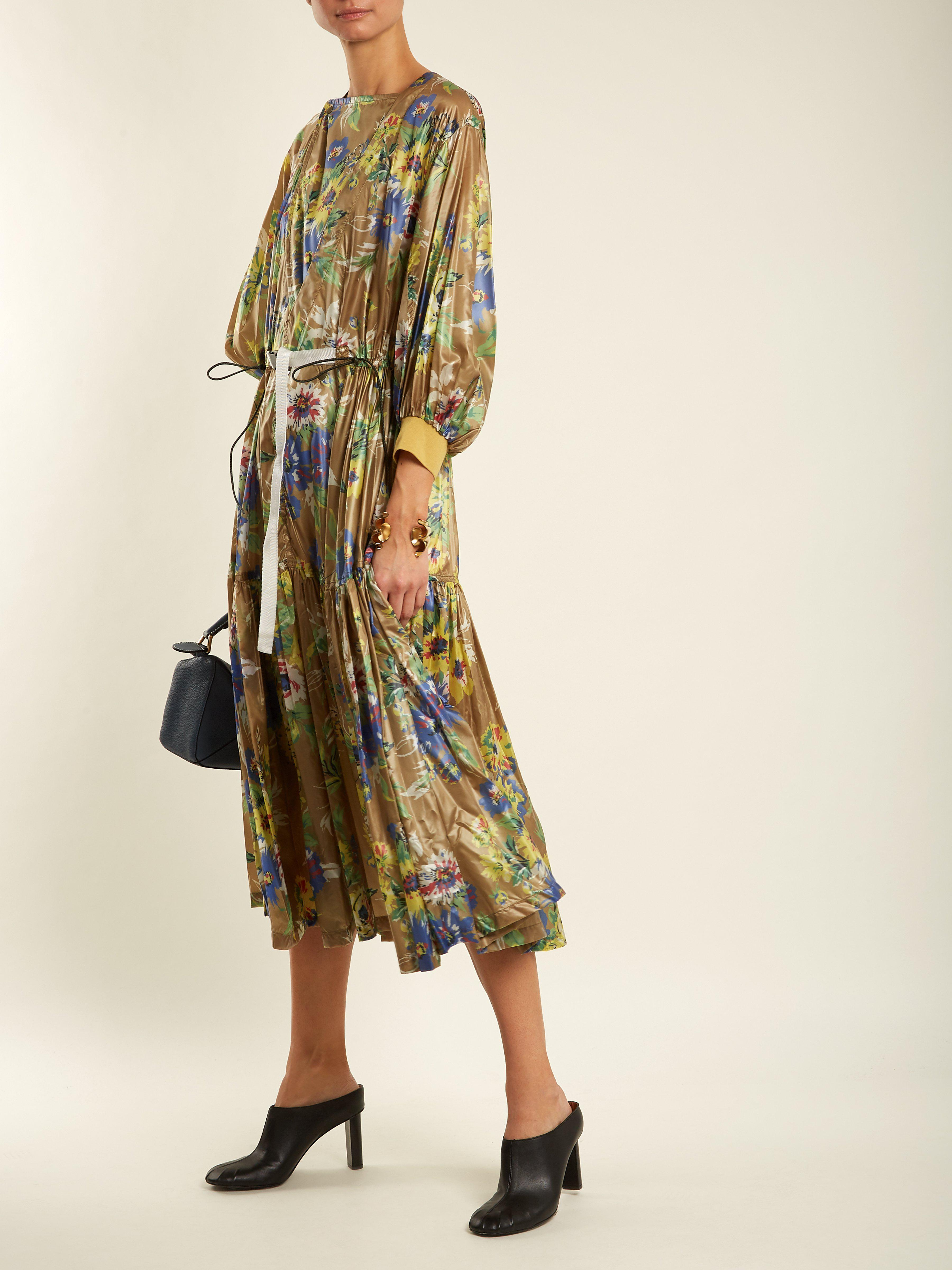 47a3a1f5697ebc Toga Belted Floral Print Nylon Dress in Green - Save 51% - Lyst