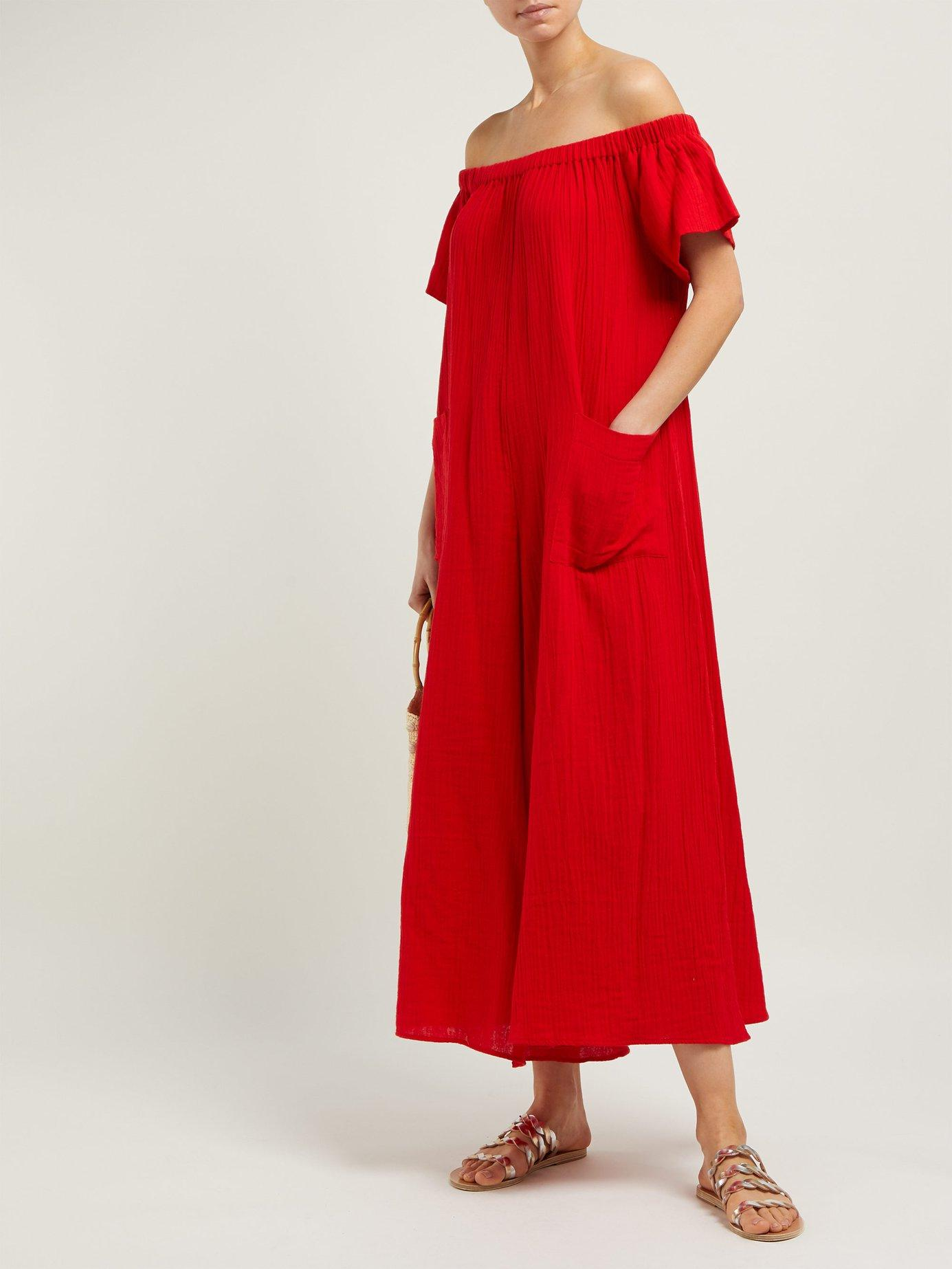 2d5c1e6439e Lyst - Mara Hoffman Blanche Off-the-shoulder Jumpsuit in Red - Save 34%