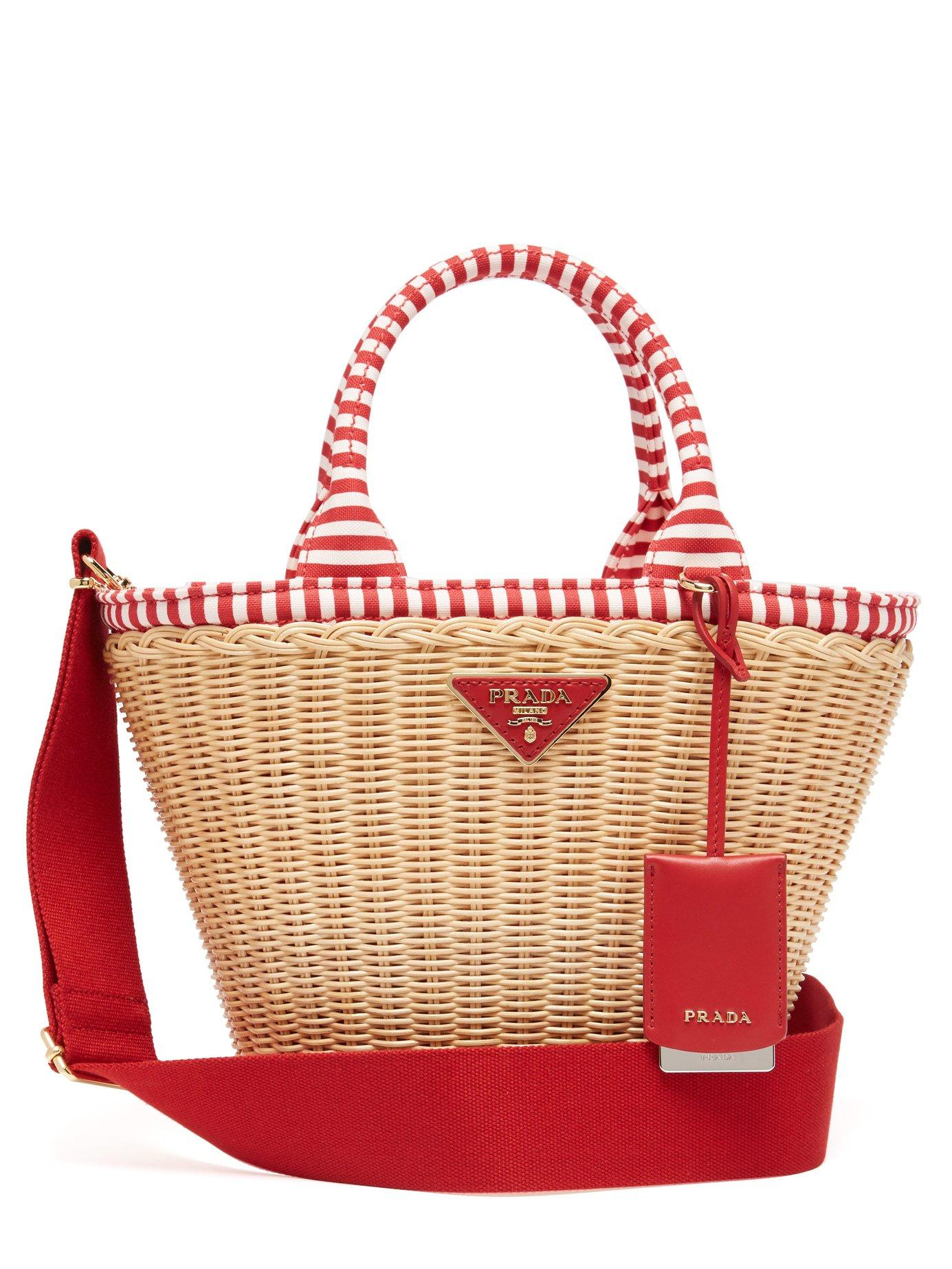 7d9188321f6caf Prada - Red Wicker And Canvas Basket Bag - Lyst. View fullscreen