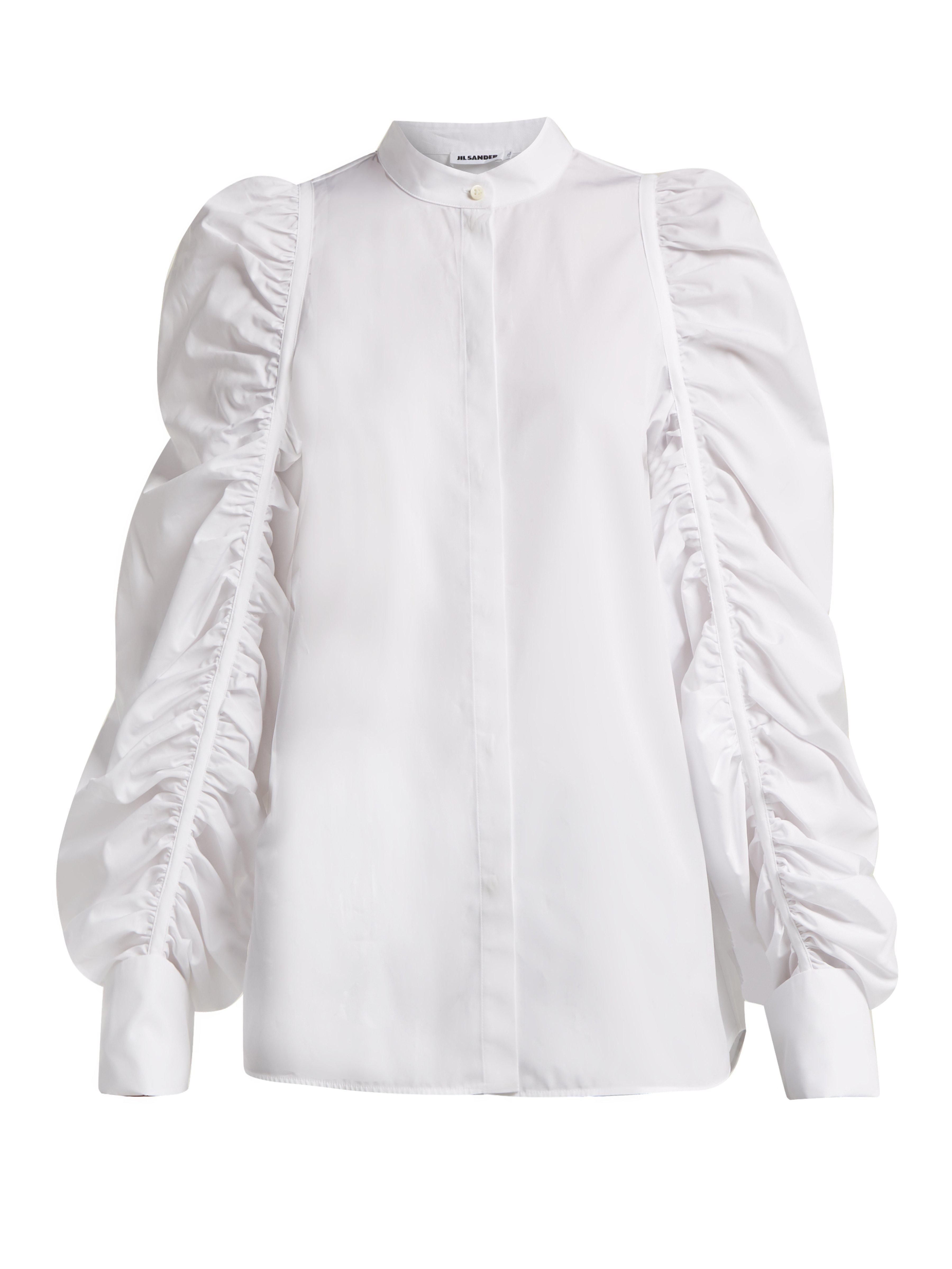 637ffffc Jil Sander Ruched Sleeve Cotton Shirt in White - Lyst