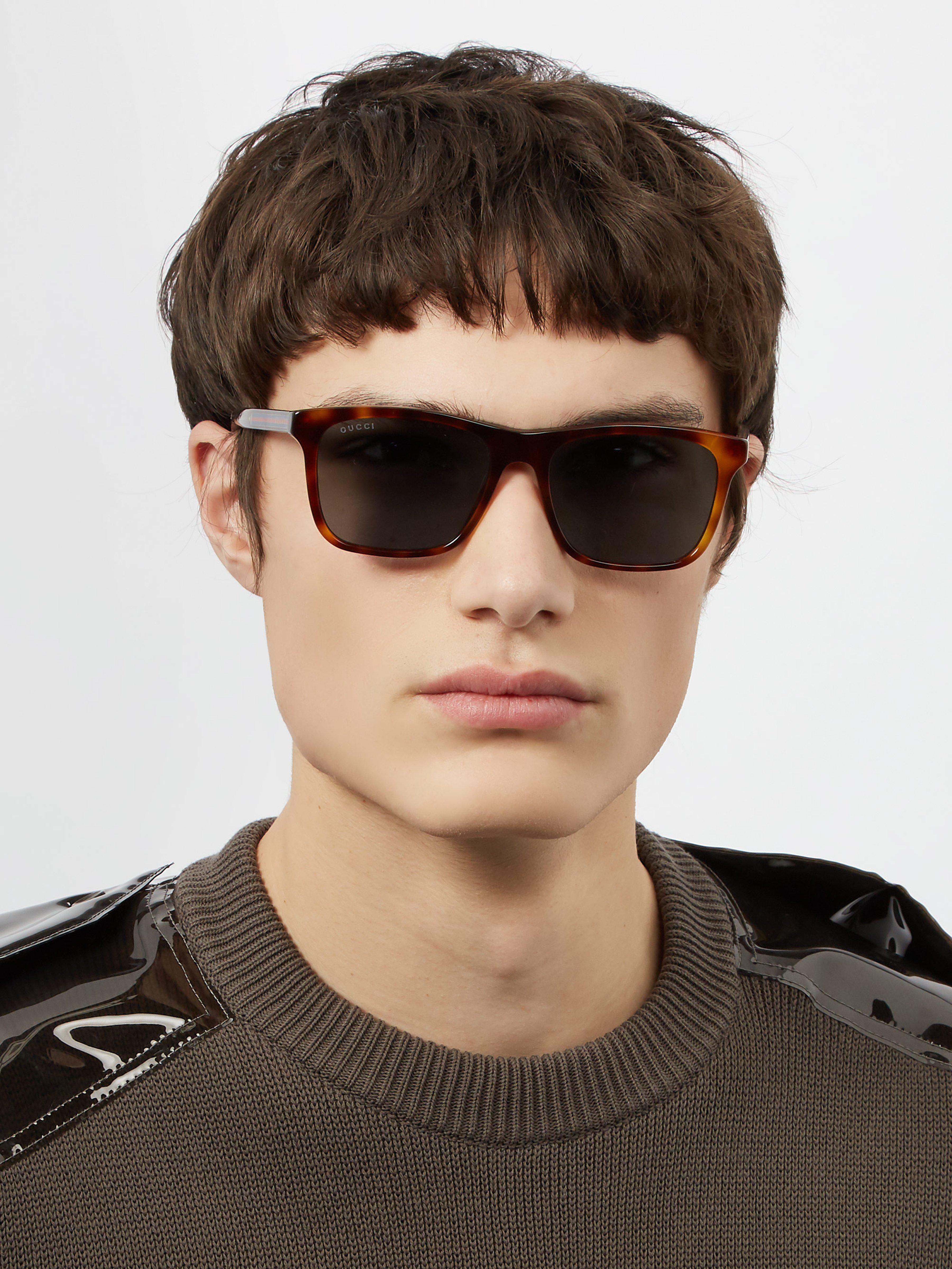 f3449339f49 Gucci Square Frame Acetate Sunglasses in Brown for Men - Lyst