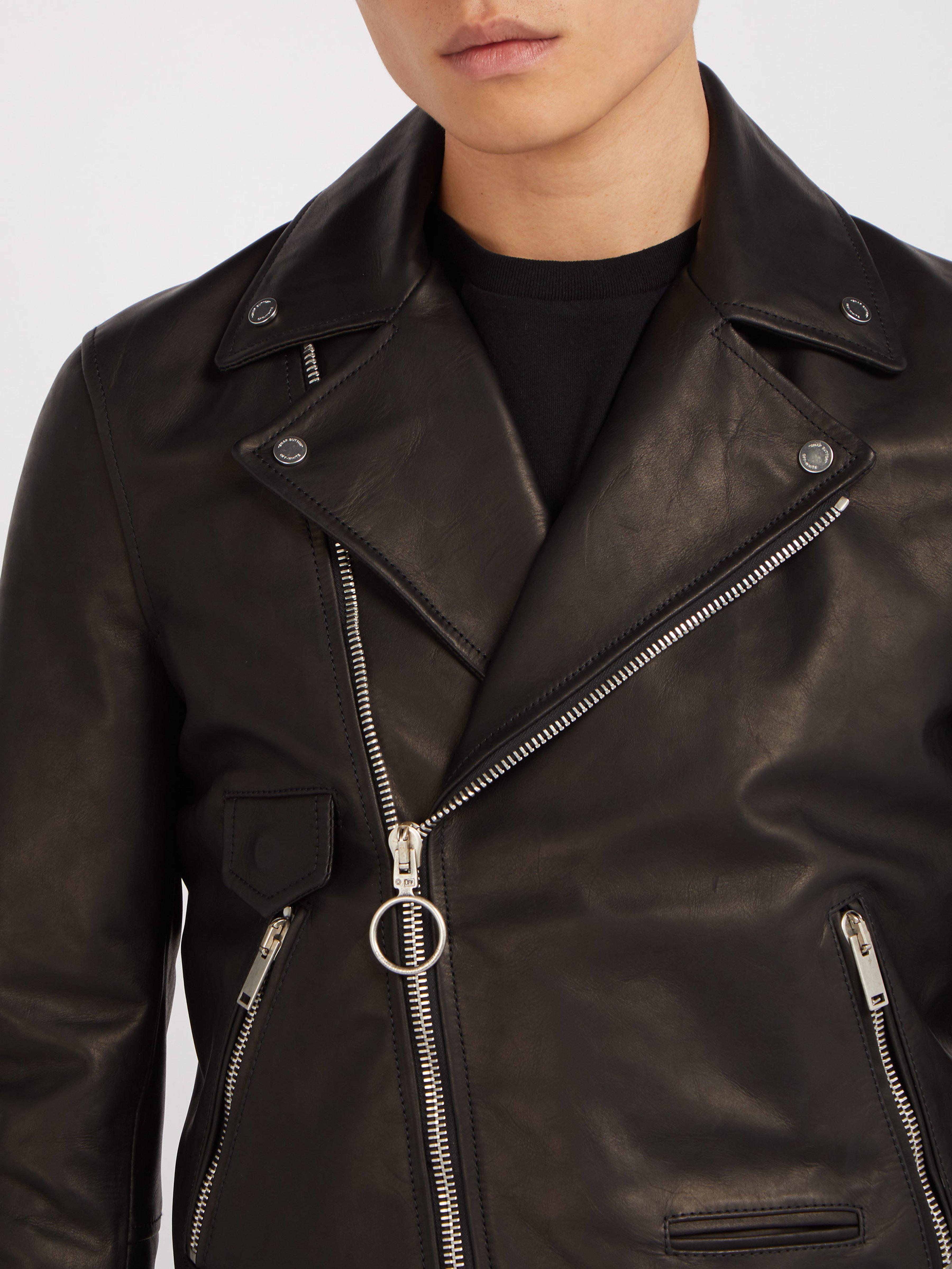7668b9a3743 Off-White c o Virgil Abloh - Black 99 Logo Print Leather Biker Jacket. View  fullscreen