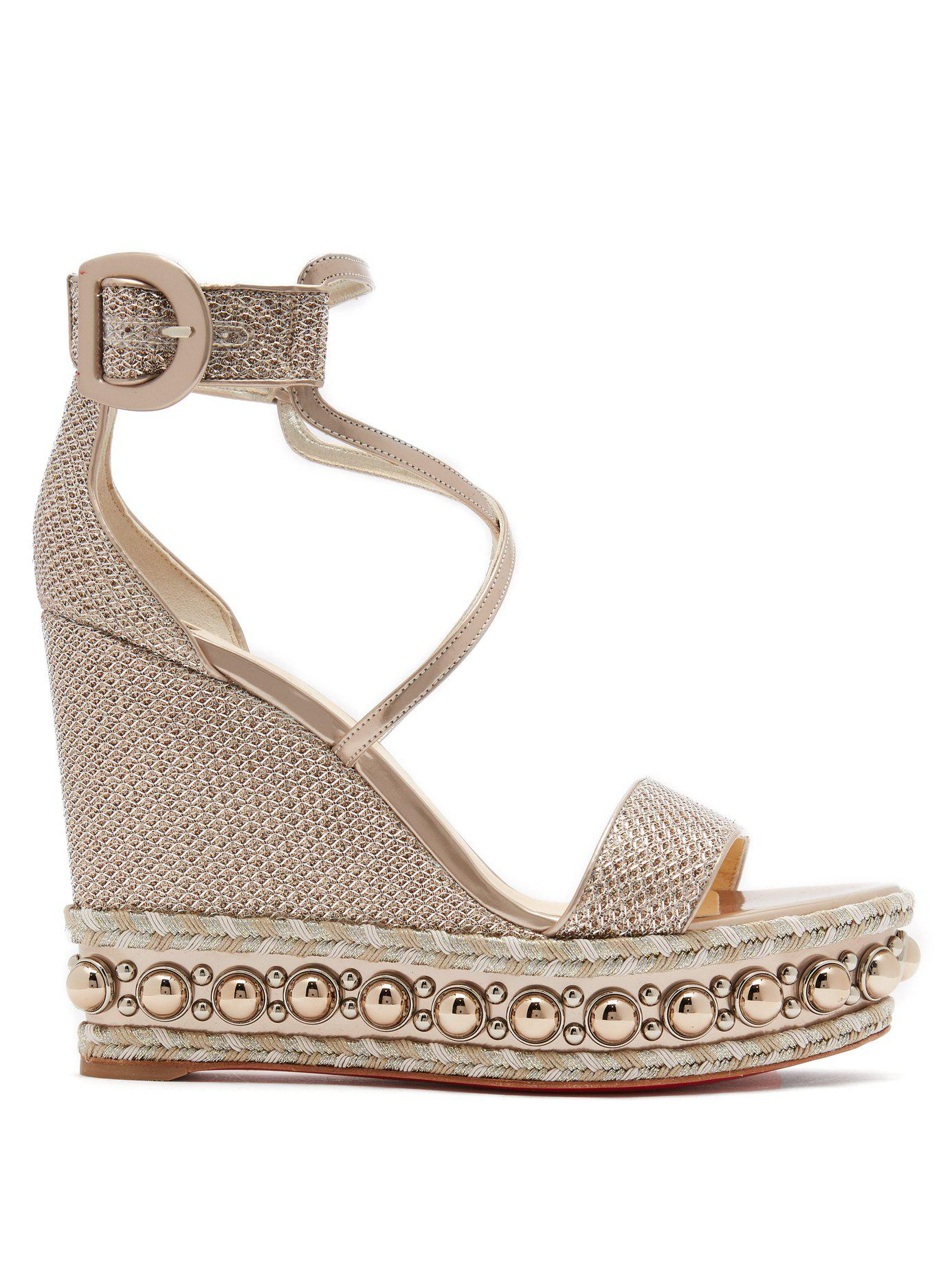b30cda98bda1 Christian Louboutin. Women s Metallic Chocazeppa 120 Leather Wedge Sandals