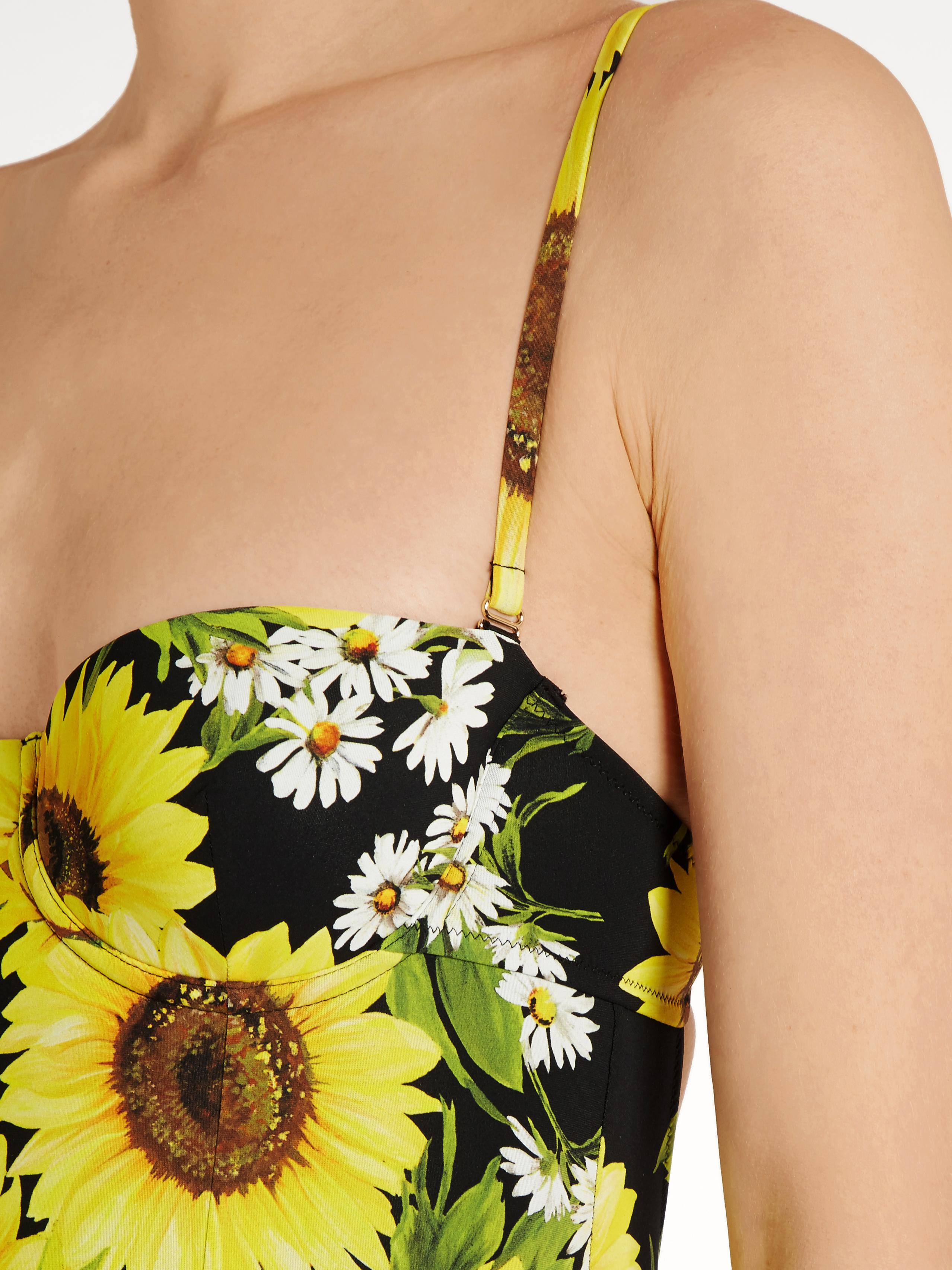 e78ac536089db Dolce & Gabbana Sunflower-print Balconette Swimsuit in Black - Lyst