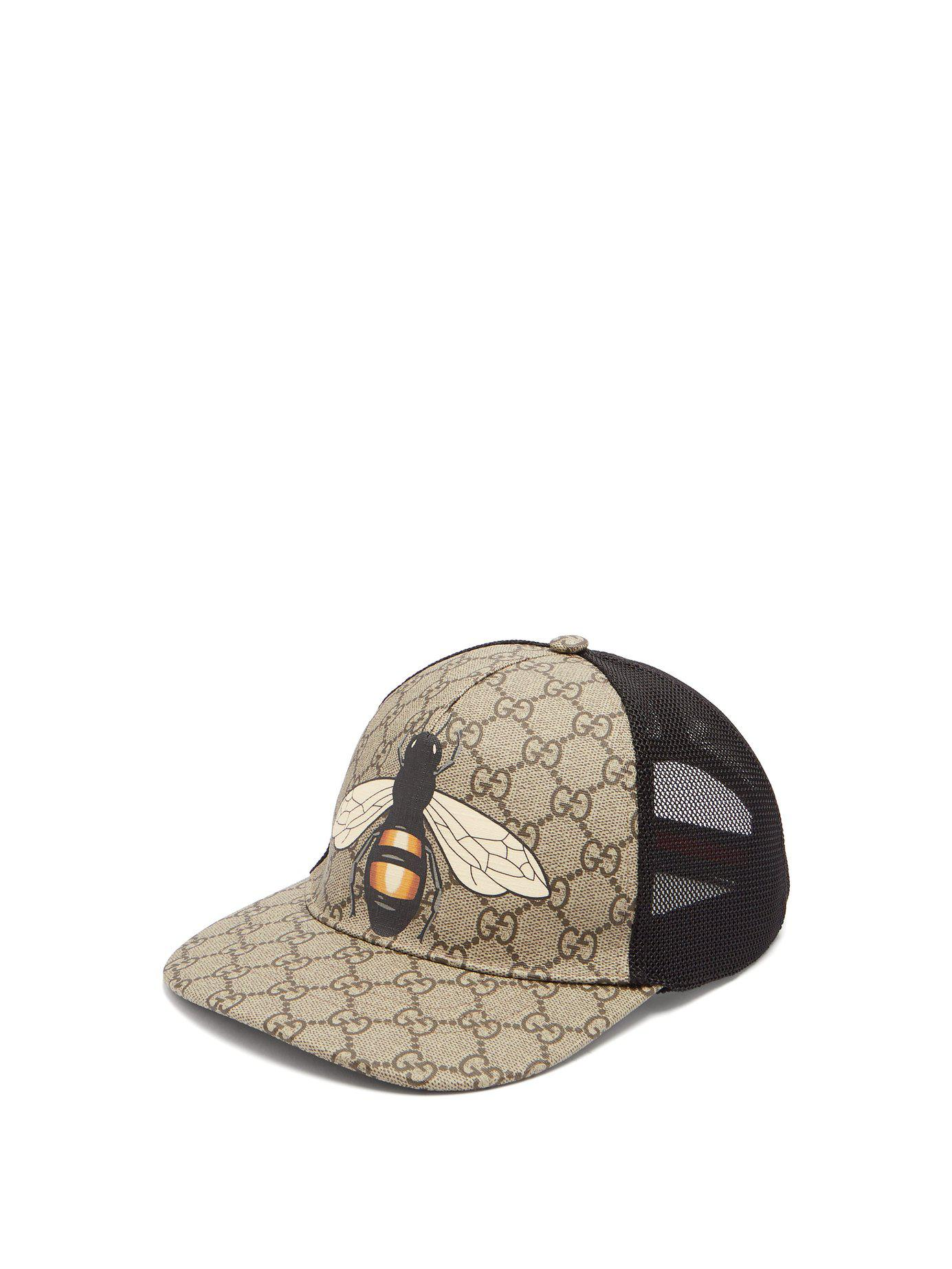 308ae8b9fa9 Lyst - Gucci Gg And Bee Print Mesh Hat in Natural for Men
