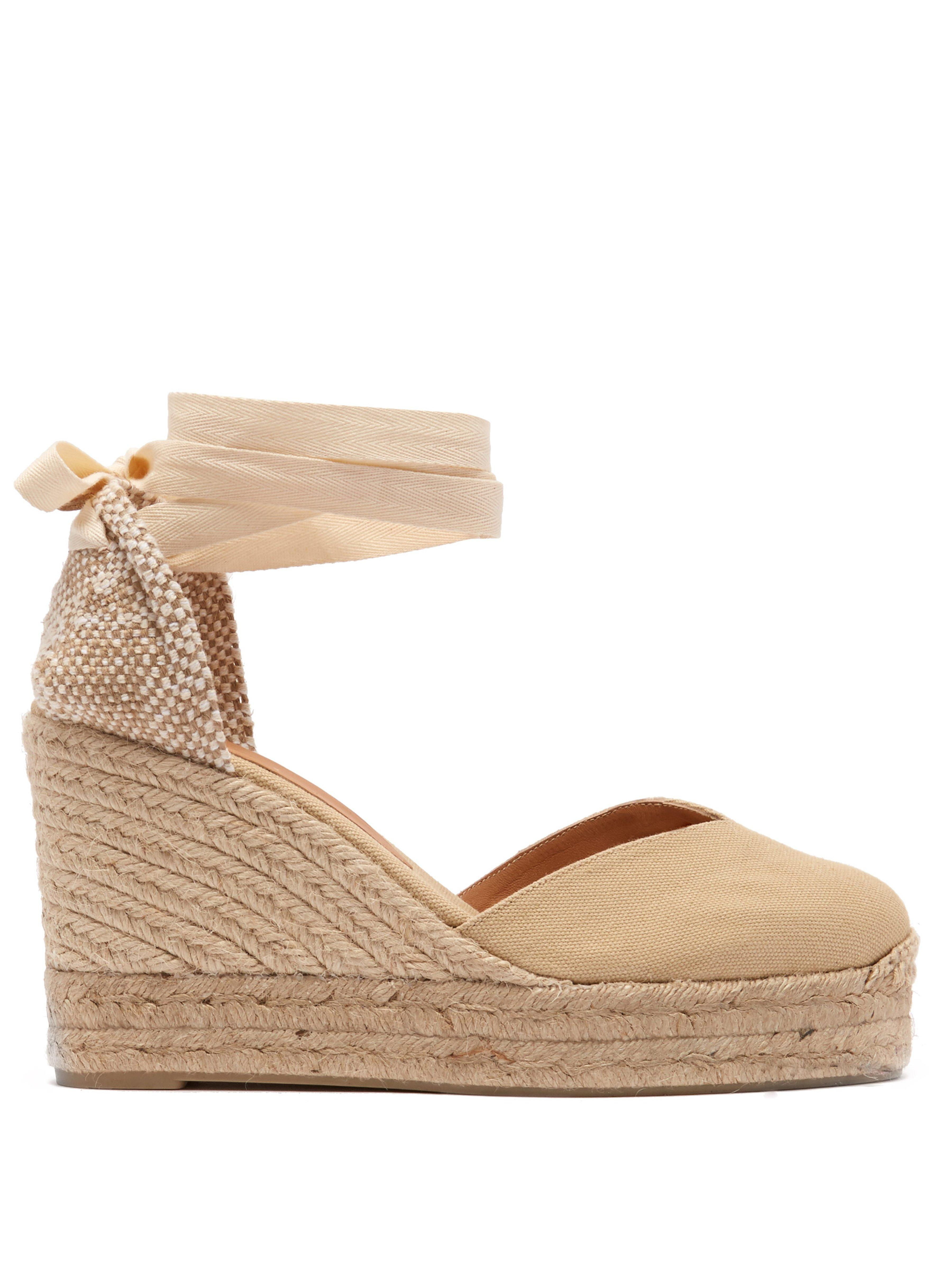 95f30e5d9dc Castaner Chiara 80 Canvas & Jute Espadrille Wedges in Natural - Lyst