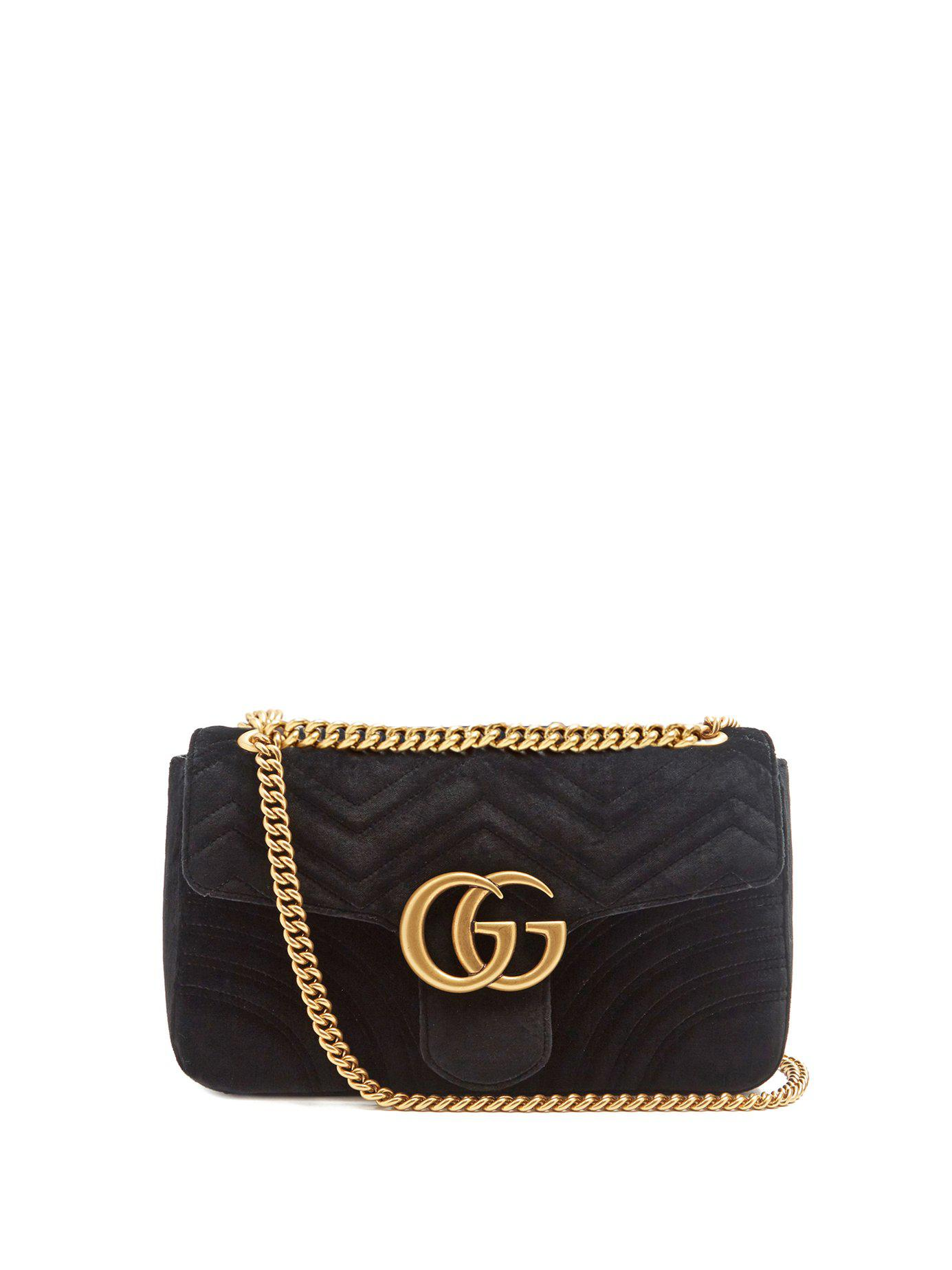 f830b58e6f6c5 Lyst - Gucci Gg Marmont Mini Velvet Quilted Shoulder Bag in Black