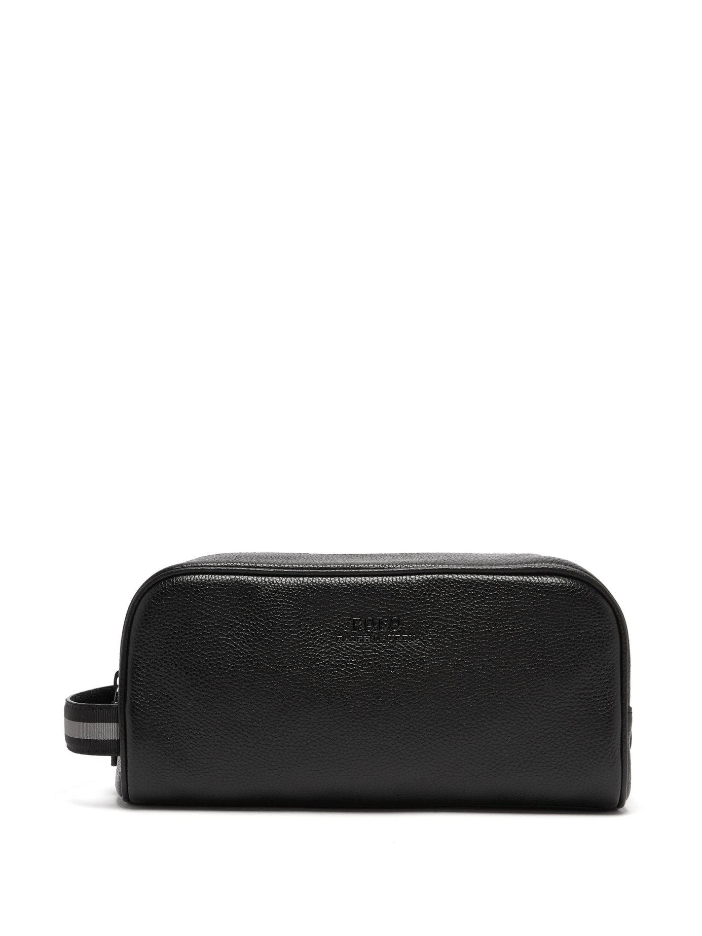 f6bb55b7ca8 Lyst - Polo Ralph Lauren Grained Leather Washbag in Black for Men