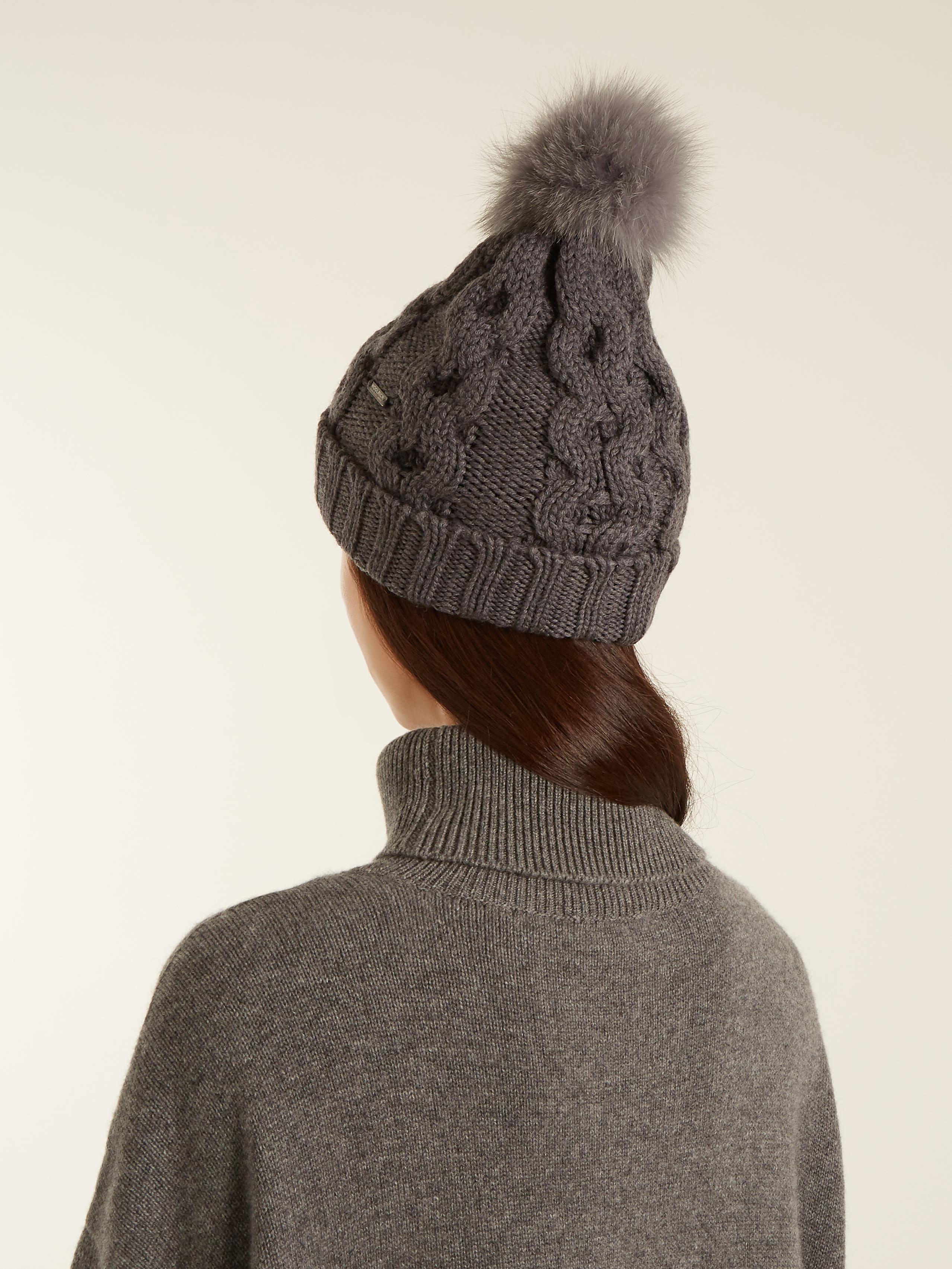 959bcccf81b01 Woolrich Serenity Fur-pompom Cable-knit Wool Beanie Hat in Gray - Lyst