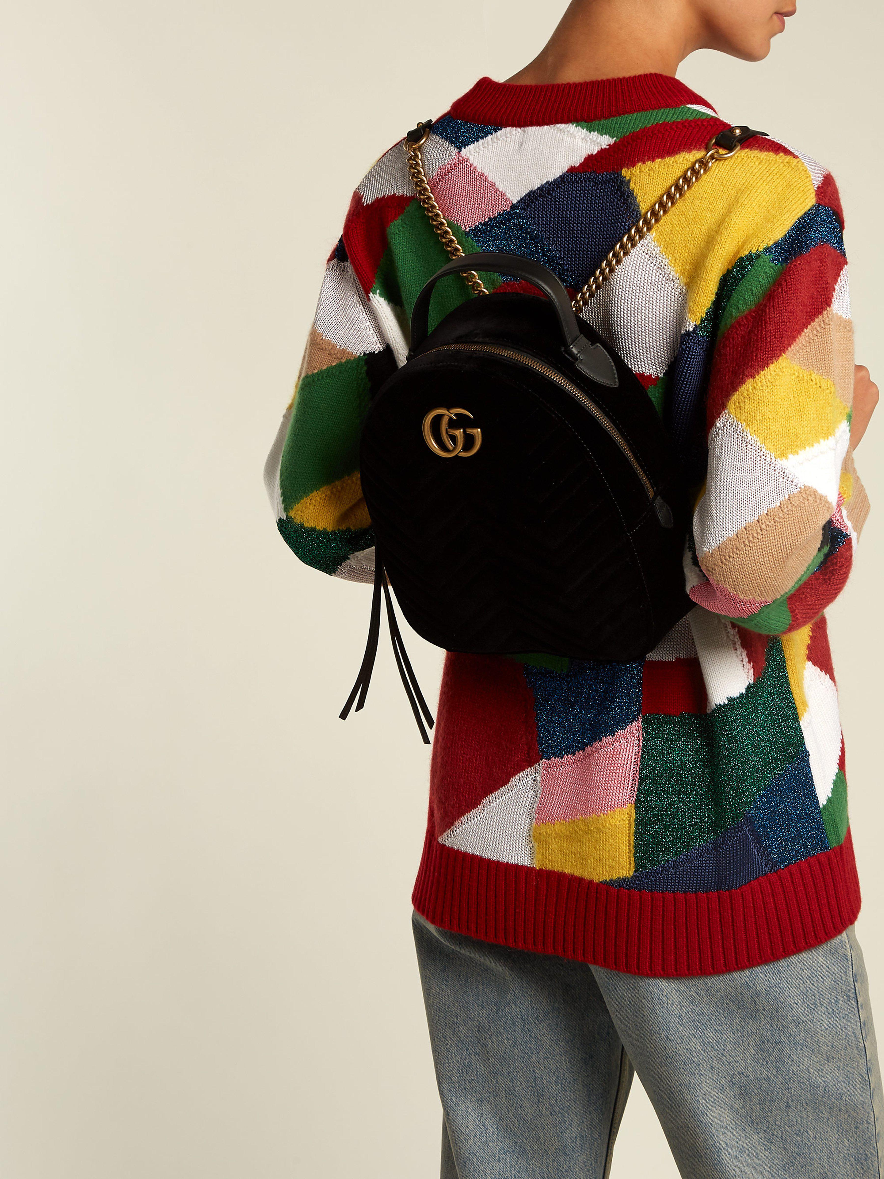 184281456d21 Gucci Gg Marmont Velvet Backpack in Black - Lyst