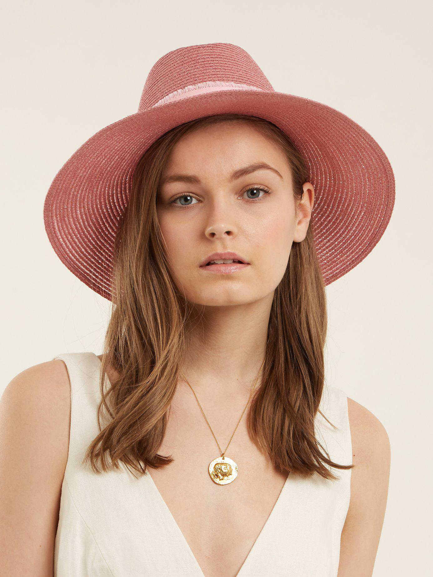 Lyst - Maison Michel Kate Straw Hat in Pink 40499b60abaa