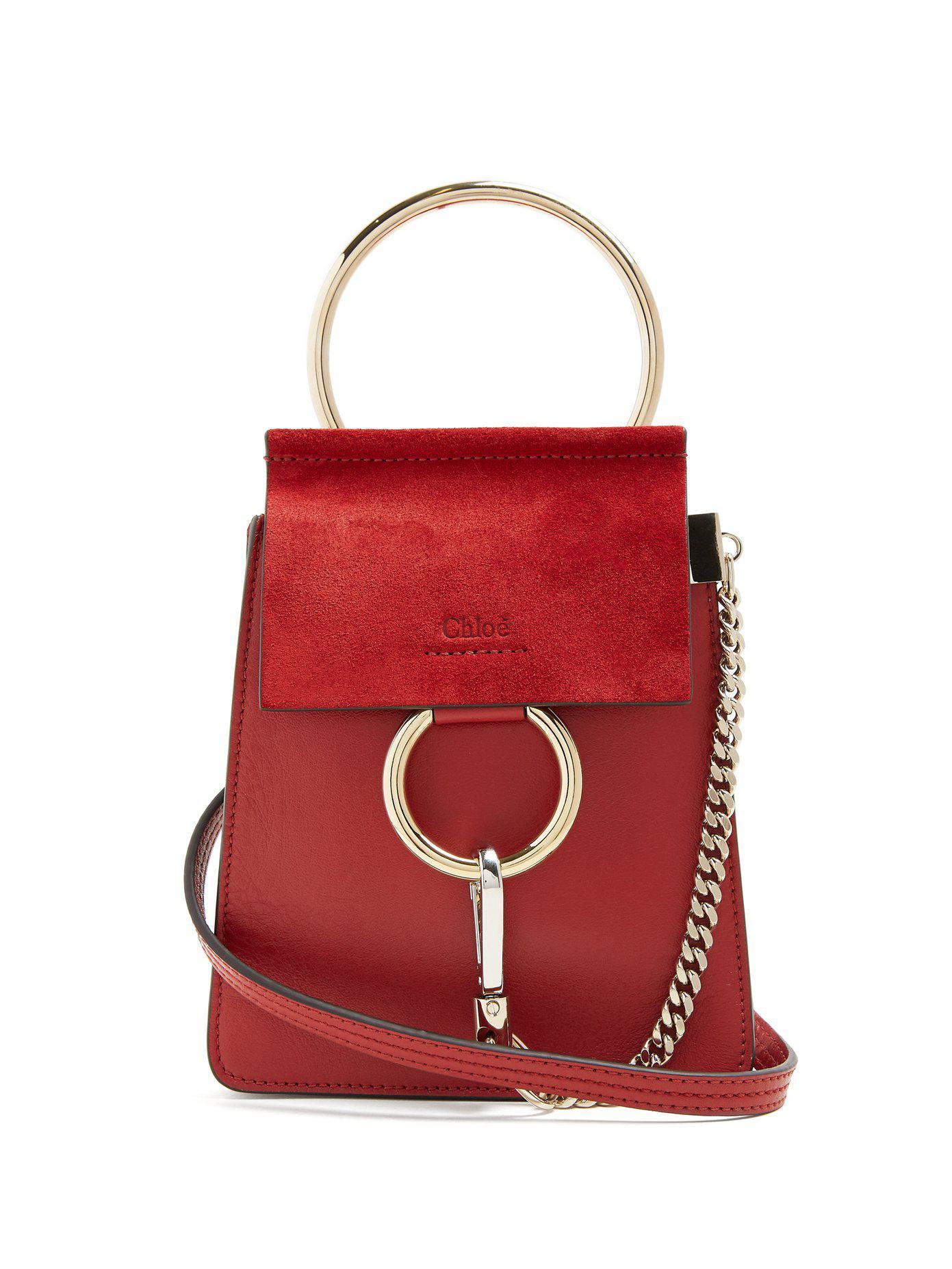 Faye mini suede-panel leather cross-body bag Chlo vBPzSPa