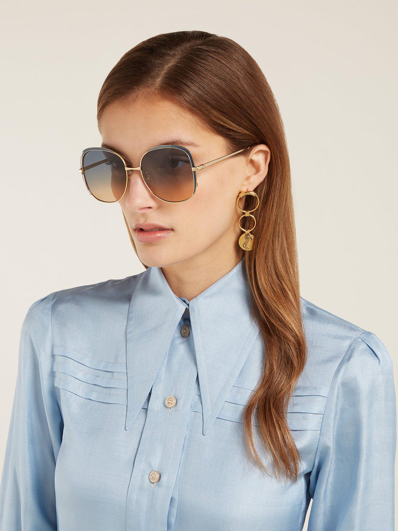 838272ec533 Lyst - Gucci Oversized Square Frame Metal Sunglasses