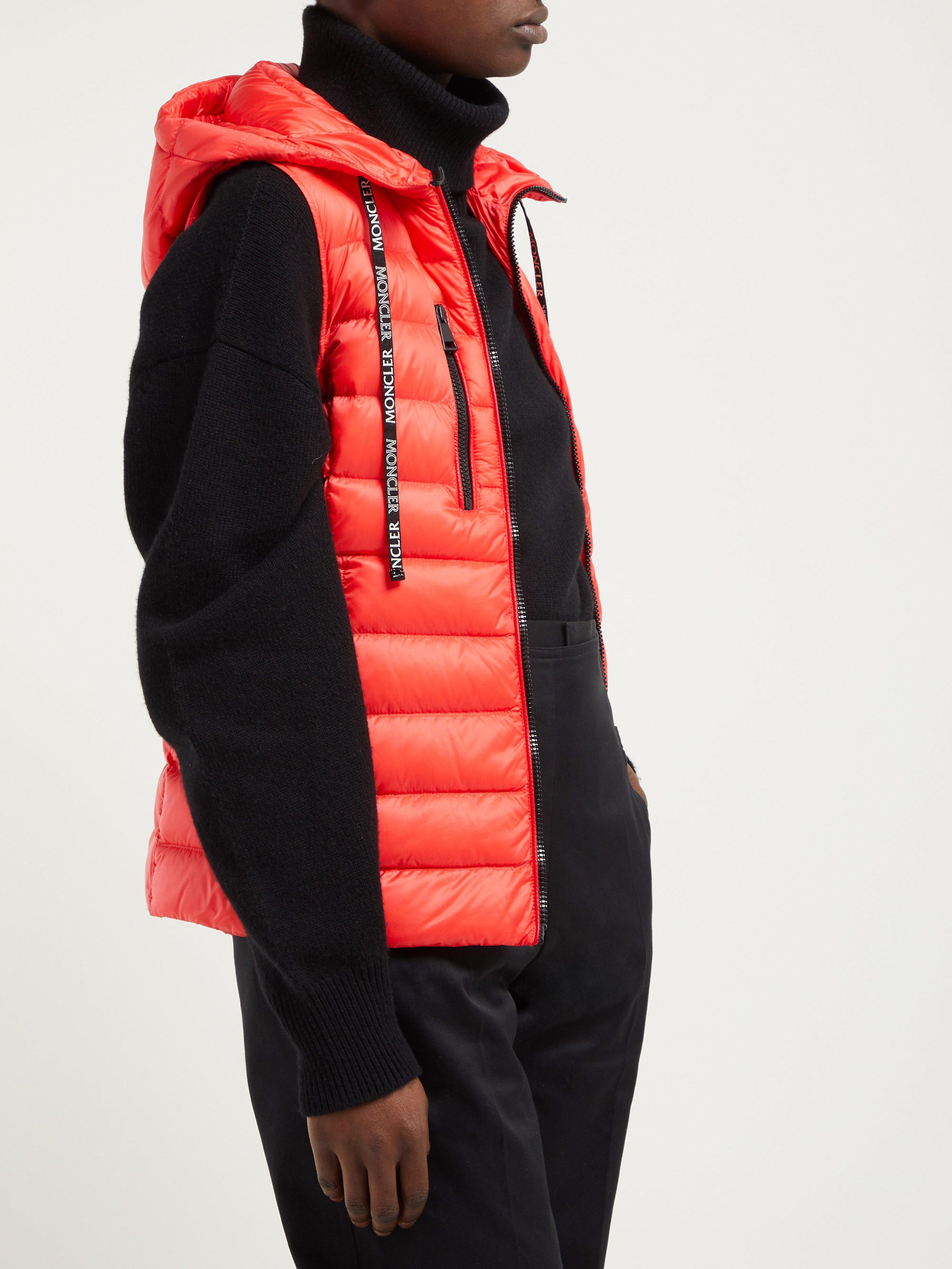 4f604f40383d Moncler Sucrette Quilted Nylon Gilet in Red - Save 1% - Lyst