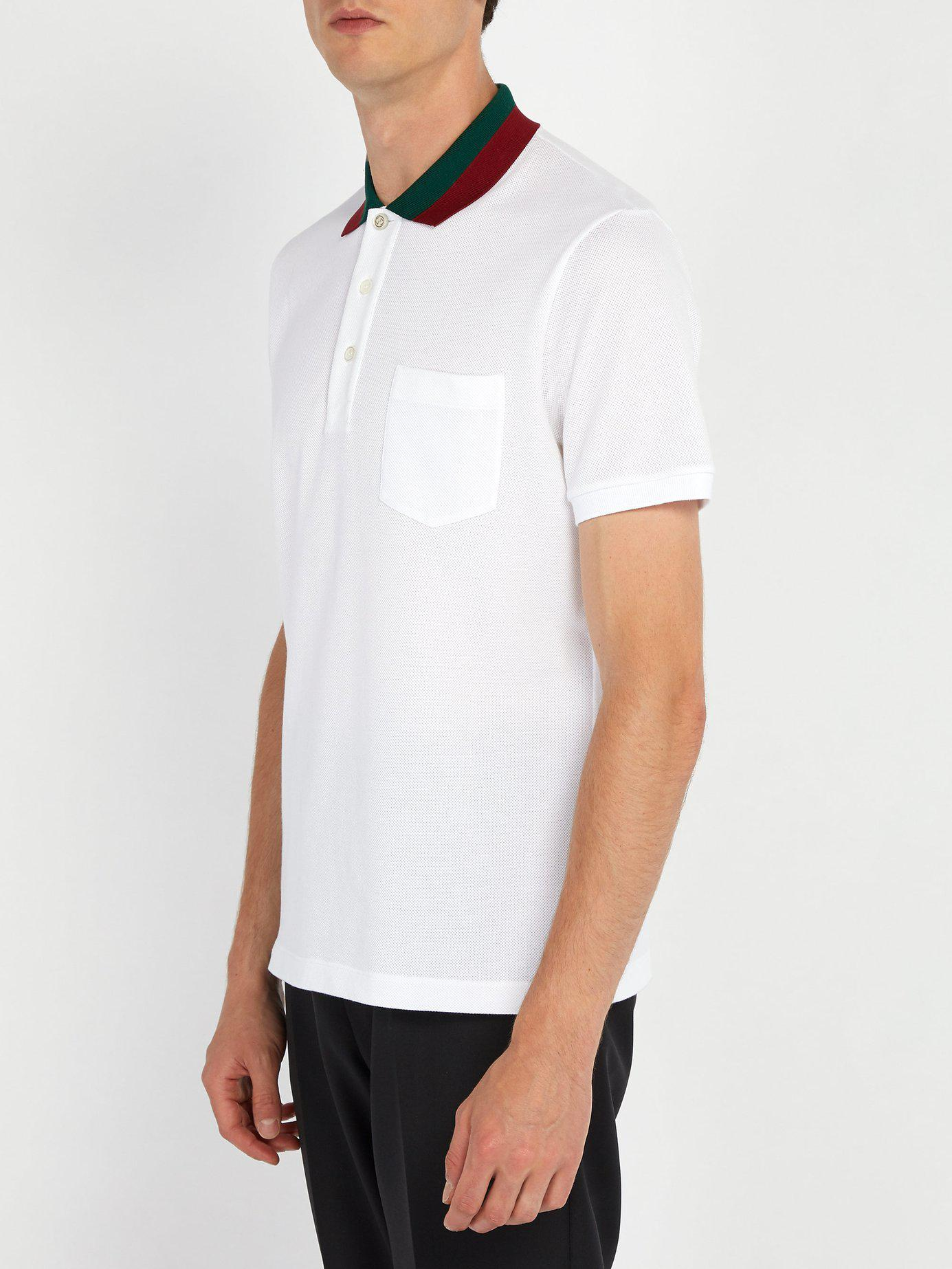 fe7954c15f48 Gucci Web Stripe Trimmed Cotton Piqué Polo Shirt in White for Men - Lyst
