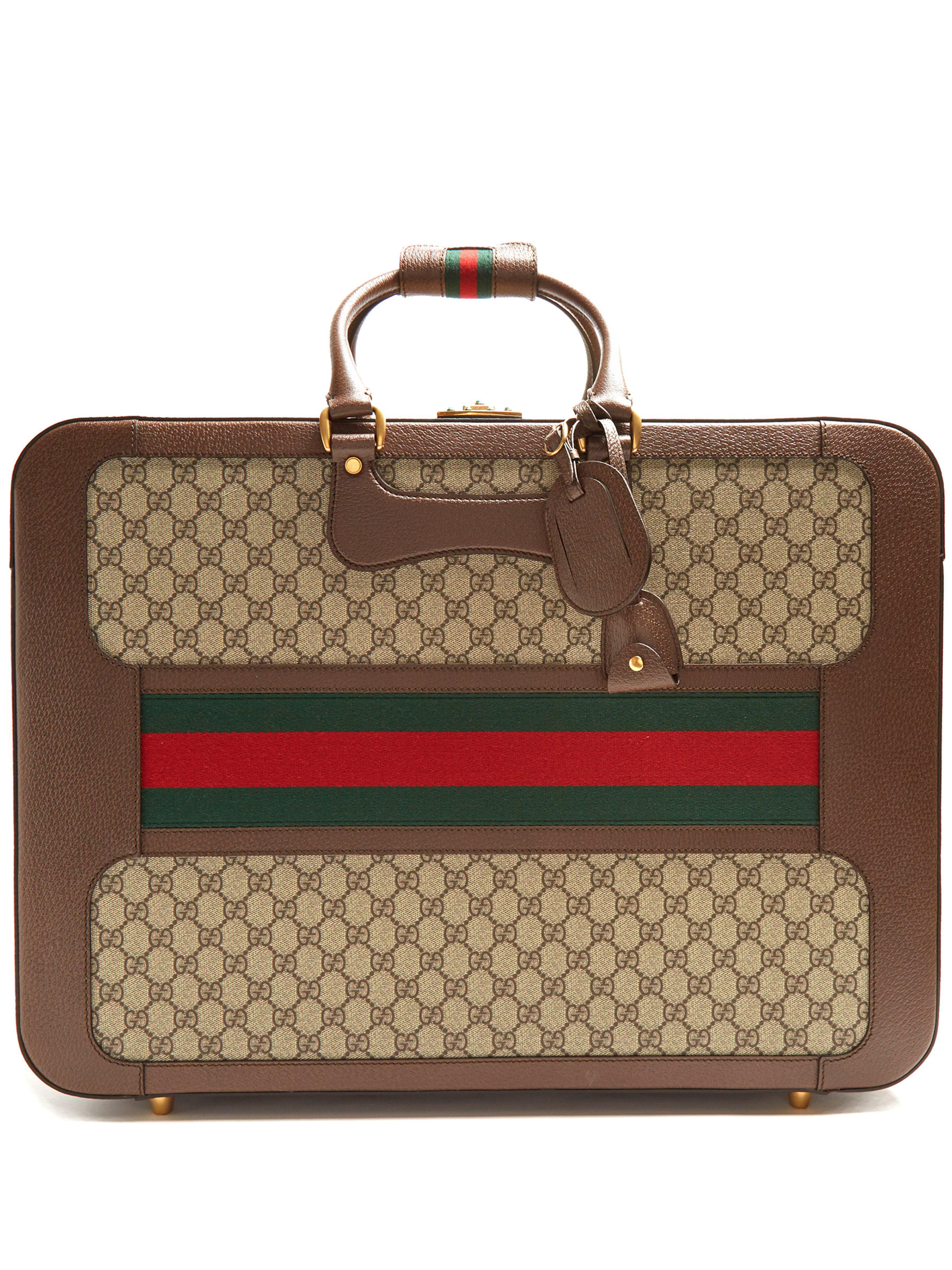64bdf7899a Valise cabine en cuir et toile Suprême GG Gucci en coloris Marron - Lyst
