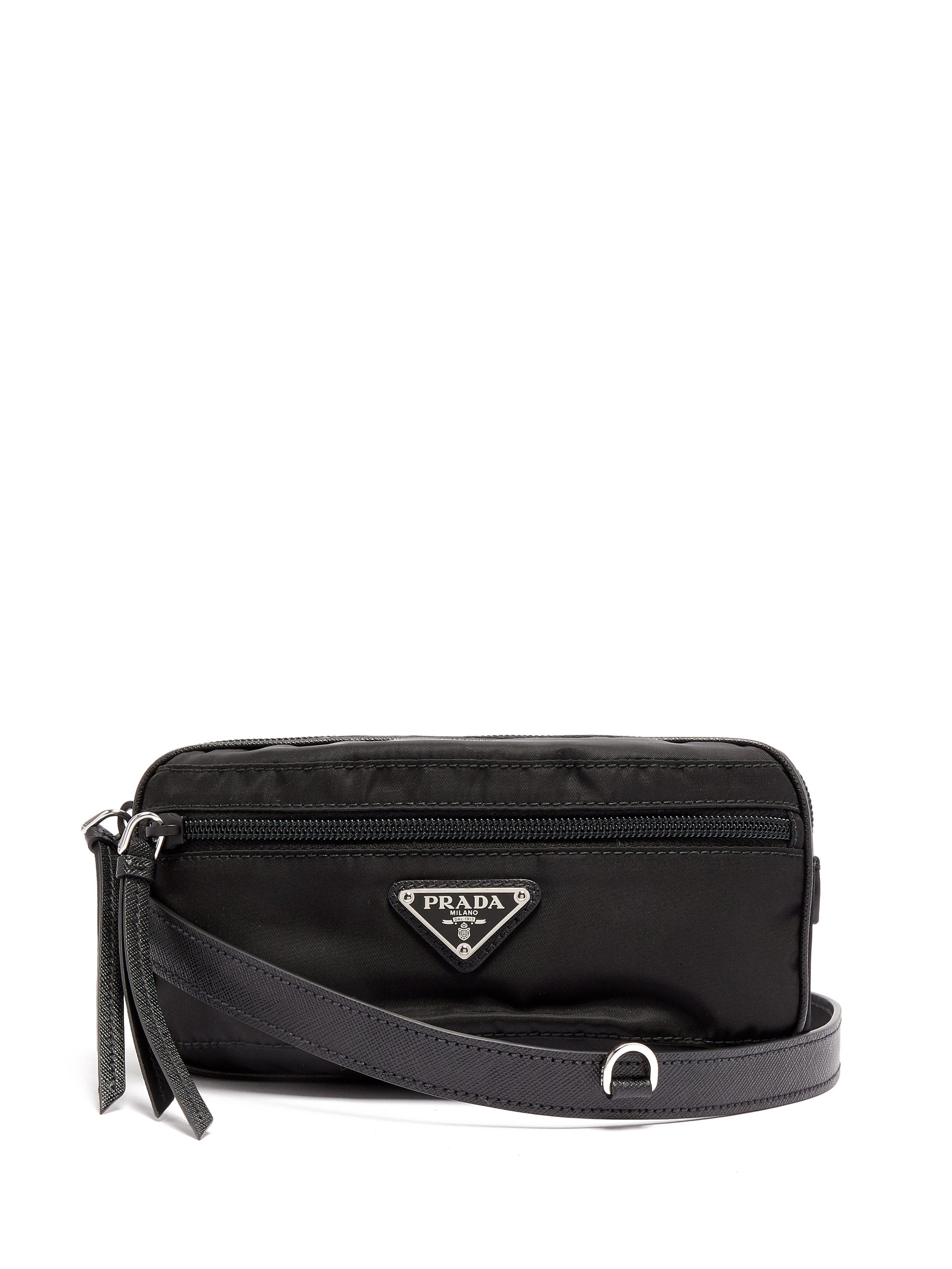 7ac886df6454 Prada - Black Sac ceinture en cuir et nylon - Lyst. Afficher en plein écran