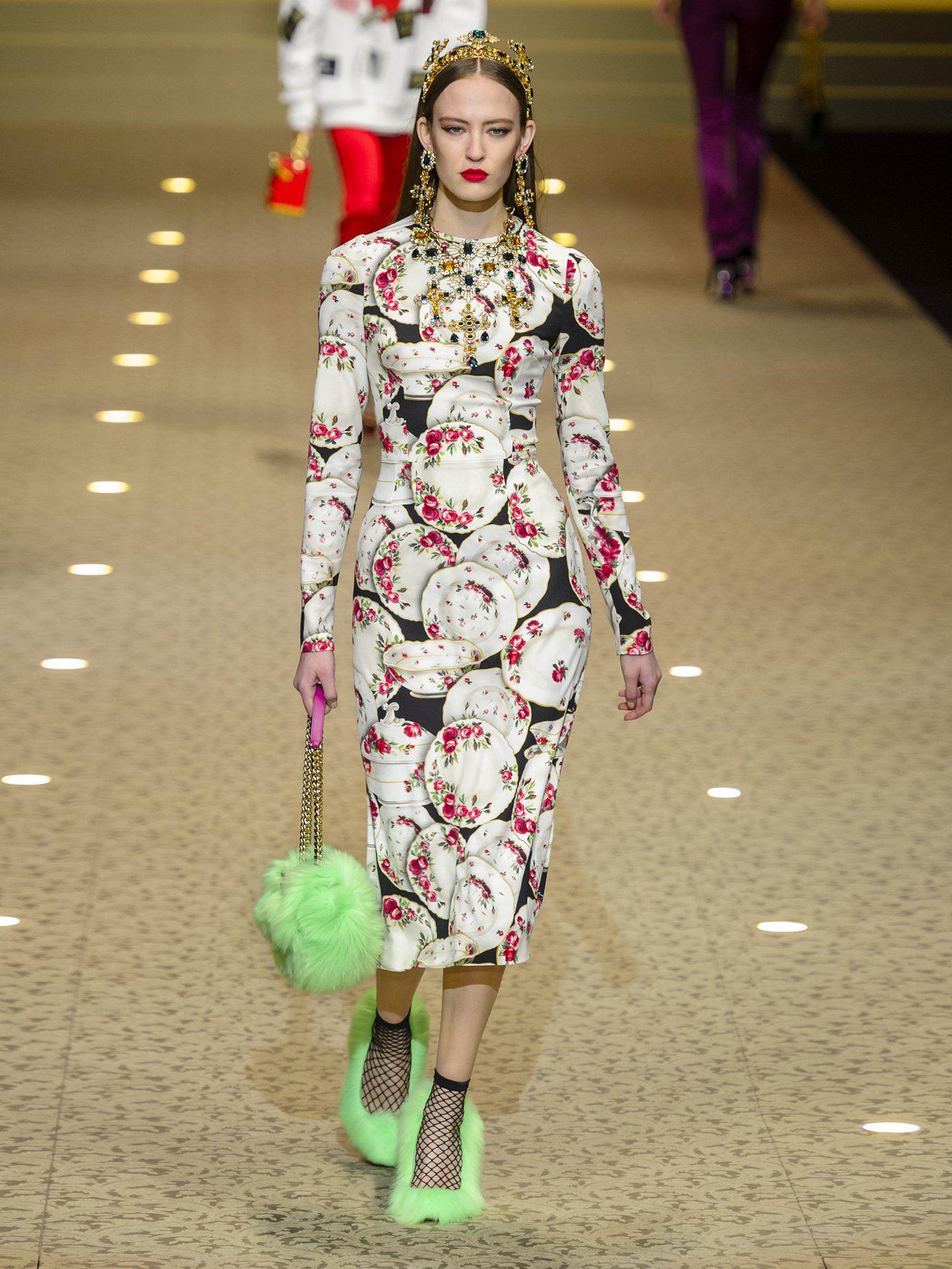 Dolce   Gabbana - Black Plate Print Stretch Crepe Midi Dress - Lyst. View  fullscreen ae77b9840