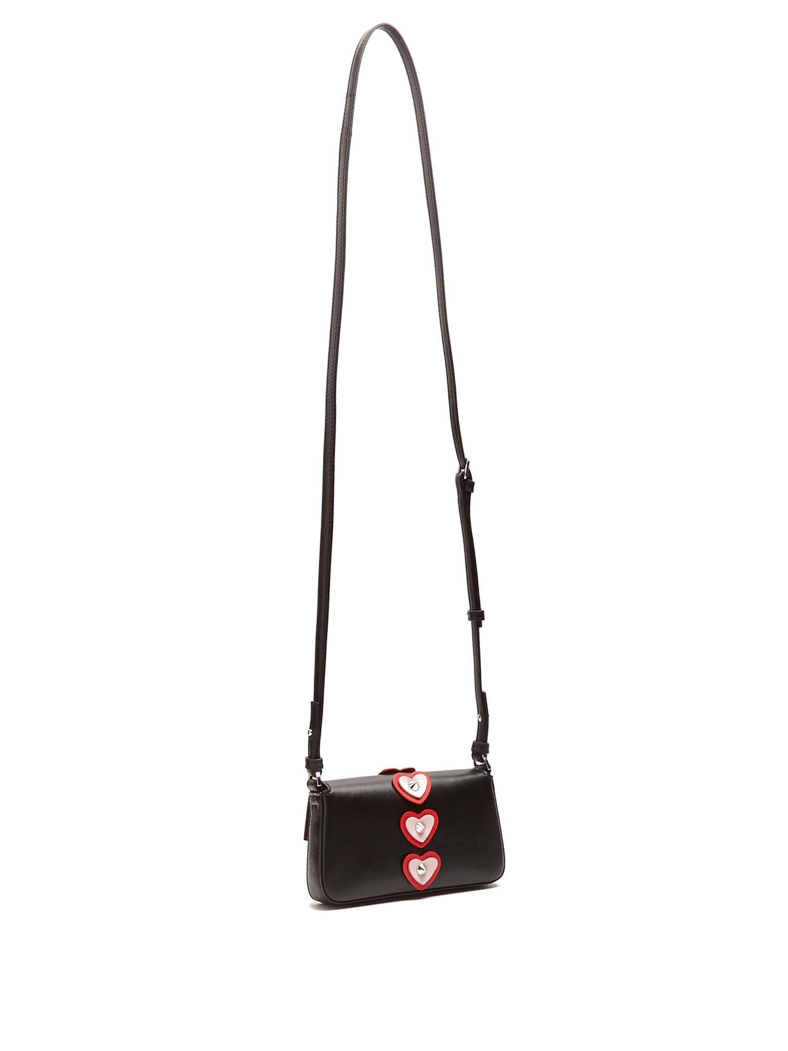 3a223d1bd10d Lyst - Fendi Micro Baguette Heart-appliqué Cross-body Bag in Black