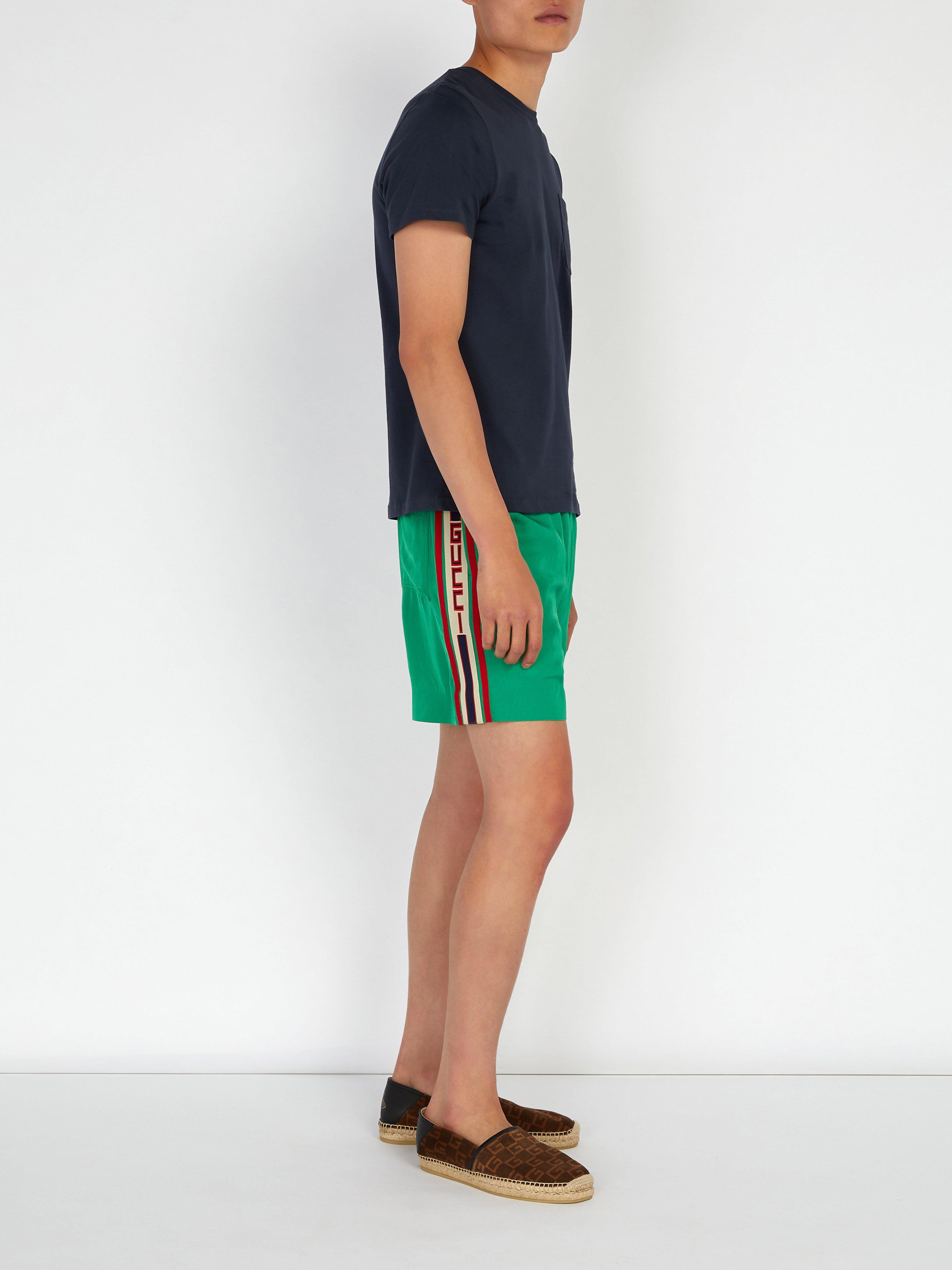 78be0662d54 Lyst - Short en sergé à bande Web Gucci pour homme en coloris Vert