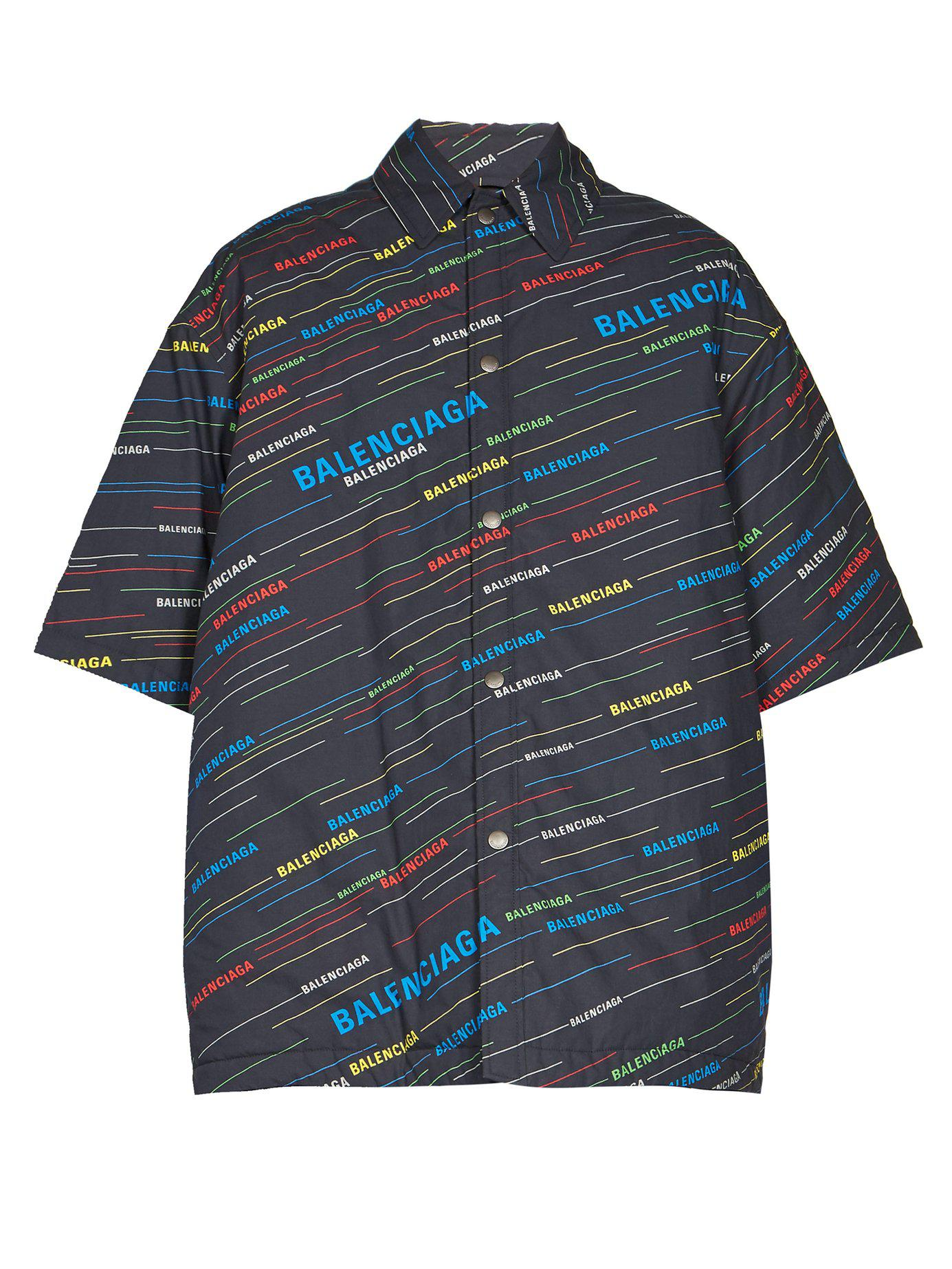 3c4578eff743 Lyst - Balenciaga Padded Oversized Logo Print Shirt in Blue for Men