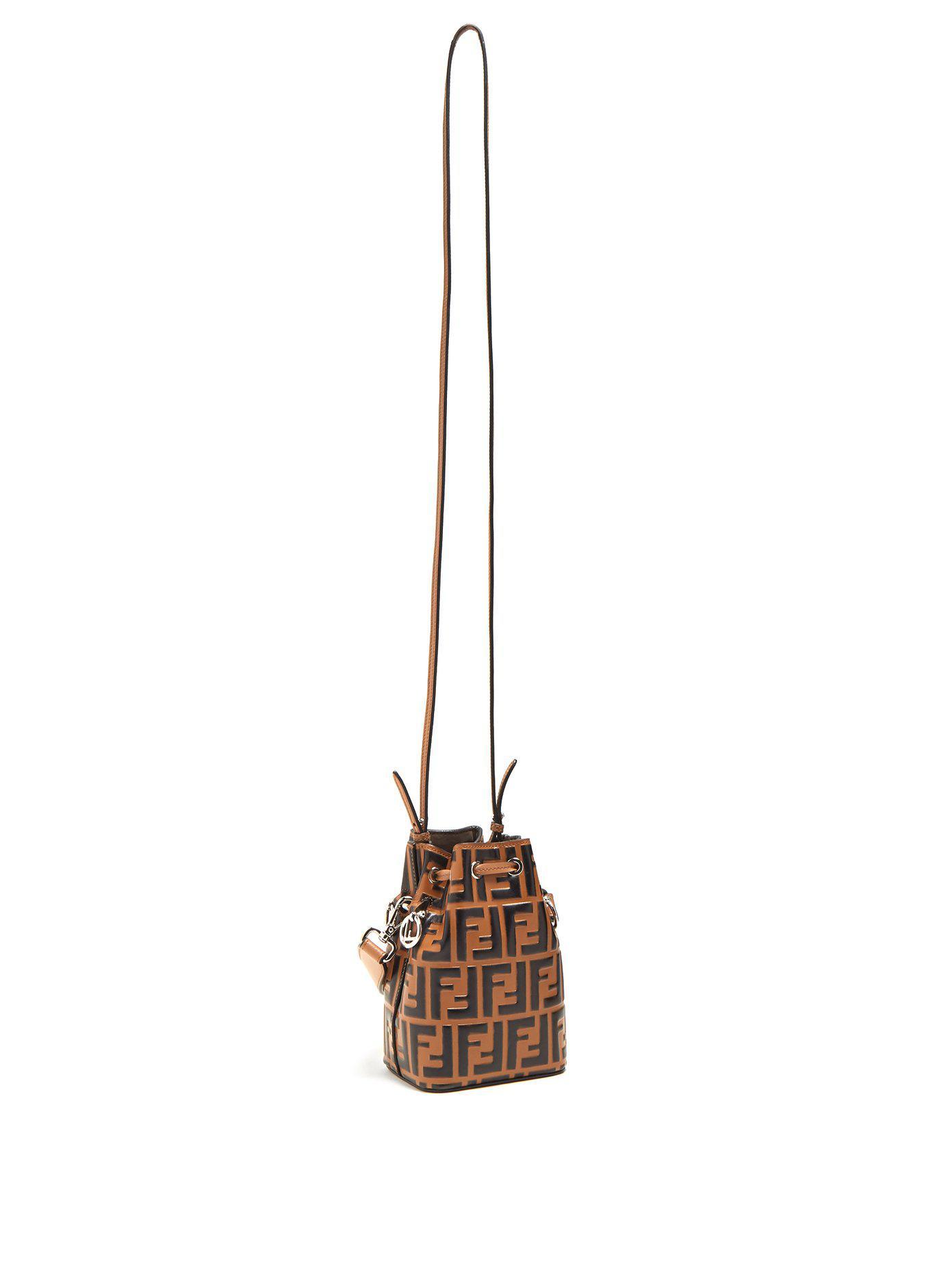 0cbe86d24535 Fendi My Treasure Logo-embossed Leather Bucket Bag in Brown - Lyst