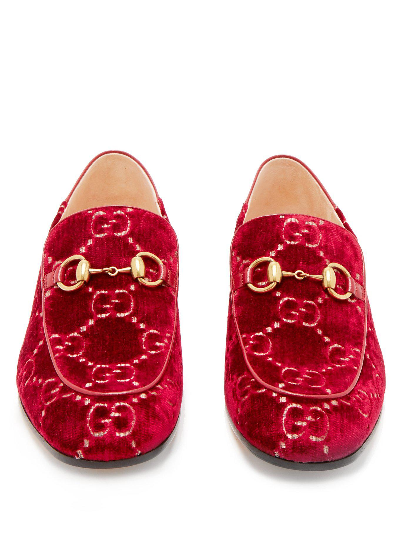 88cb4dcf511 Gucci - Red Mister Gg Crystal Embellished Velvet Loafers - Lyst. View  fullscreen
