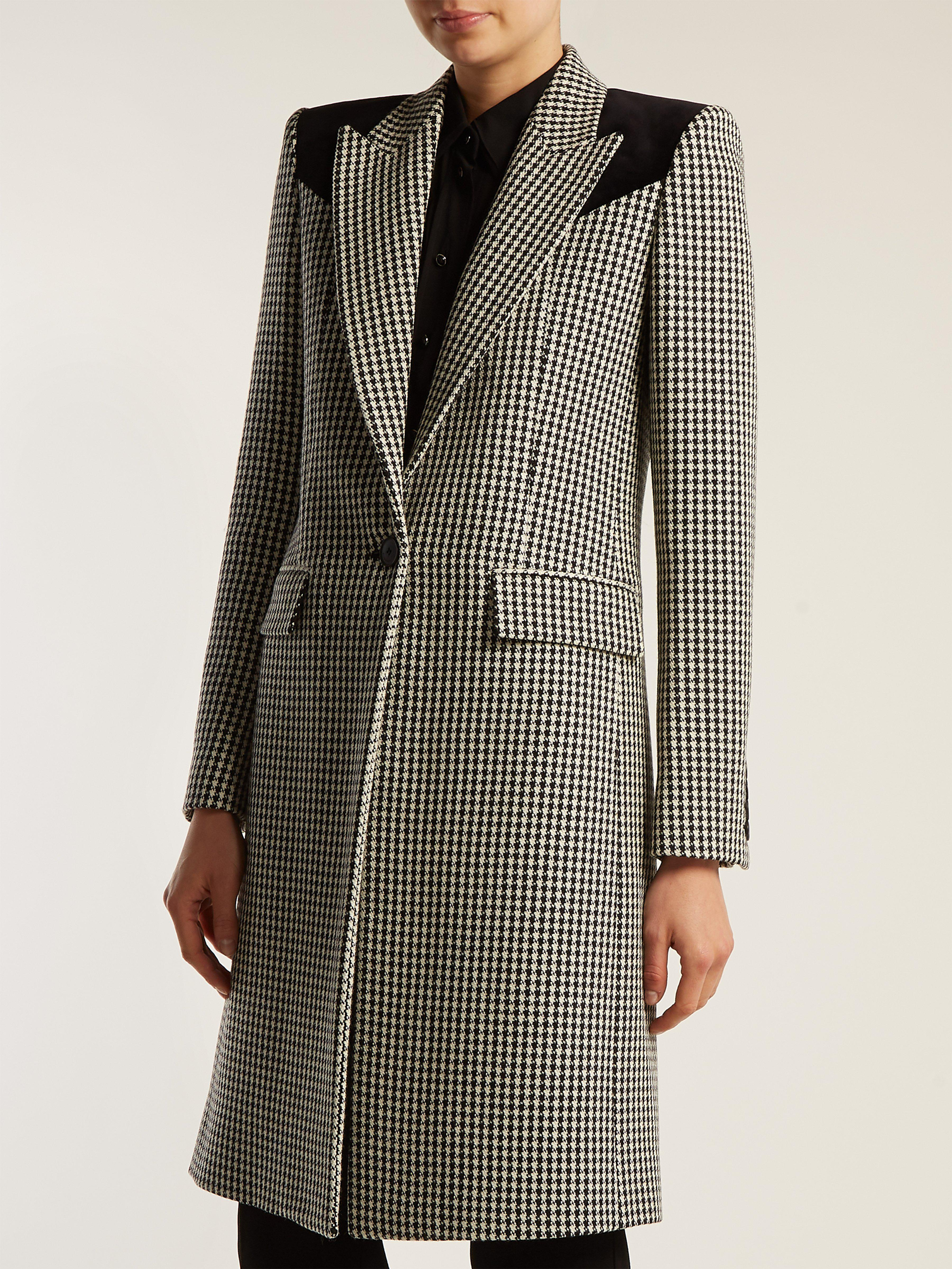f11db7992e98 Givenchy - Black Panelled Houndstooth Wool Coat - Lyst. View fullscreen