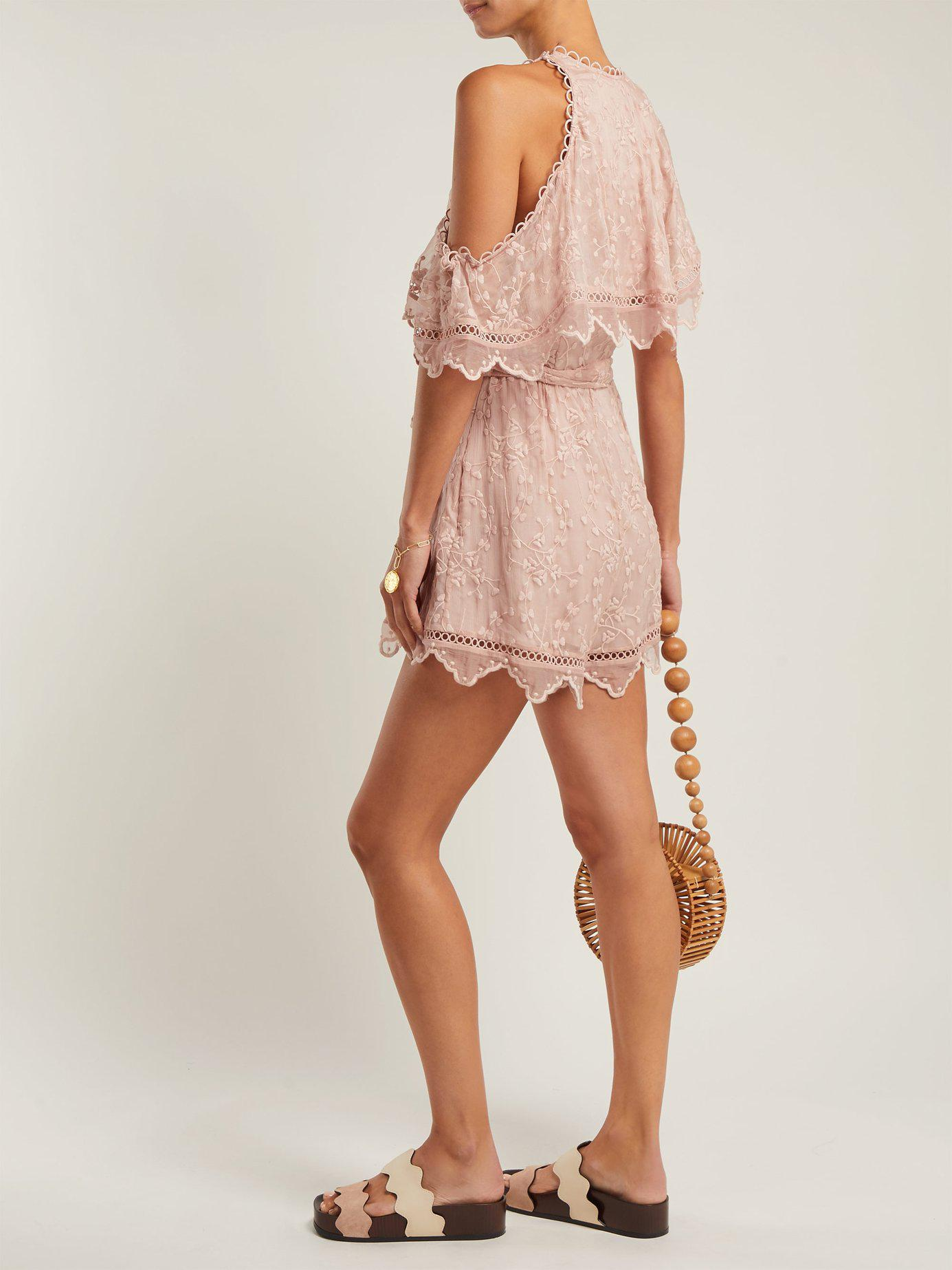 c31e4c5dc29 Zimmermann Castile Embroidered Silk Chiffon Playsuit in Pink - Lyst