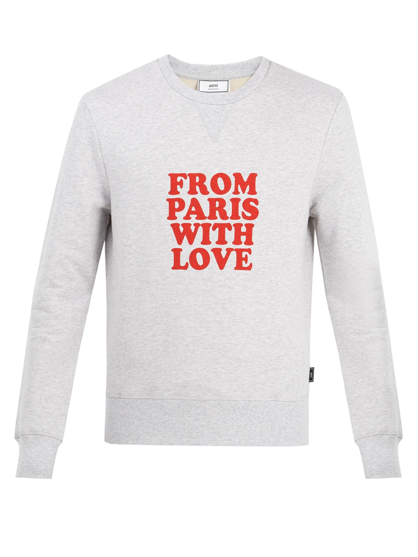 Lyst - Ami From Paris With Love Cotton Sweatshirt in Gray ...